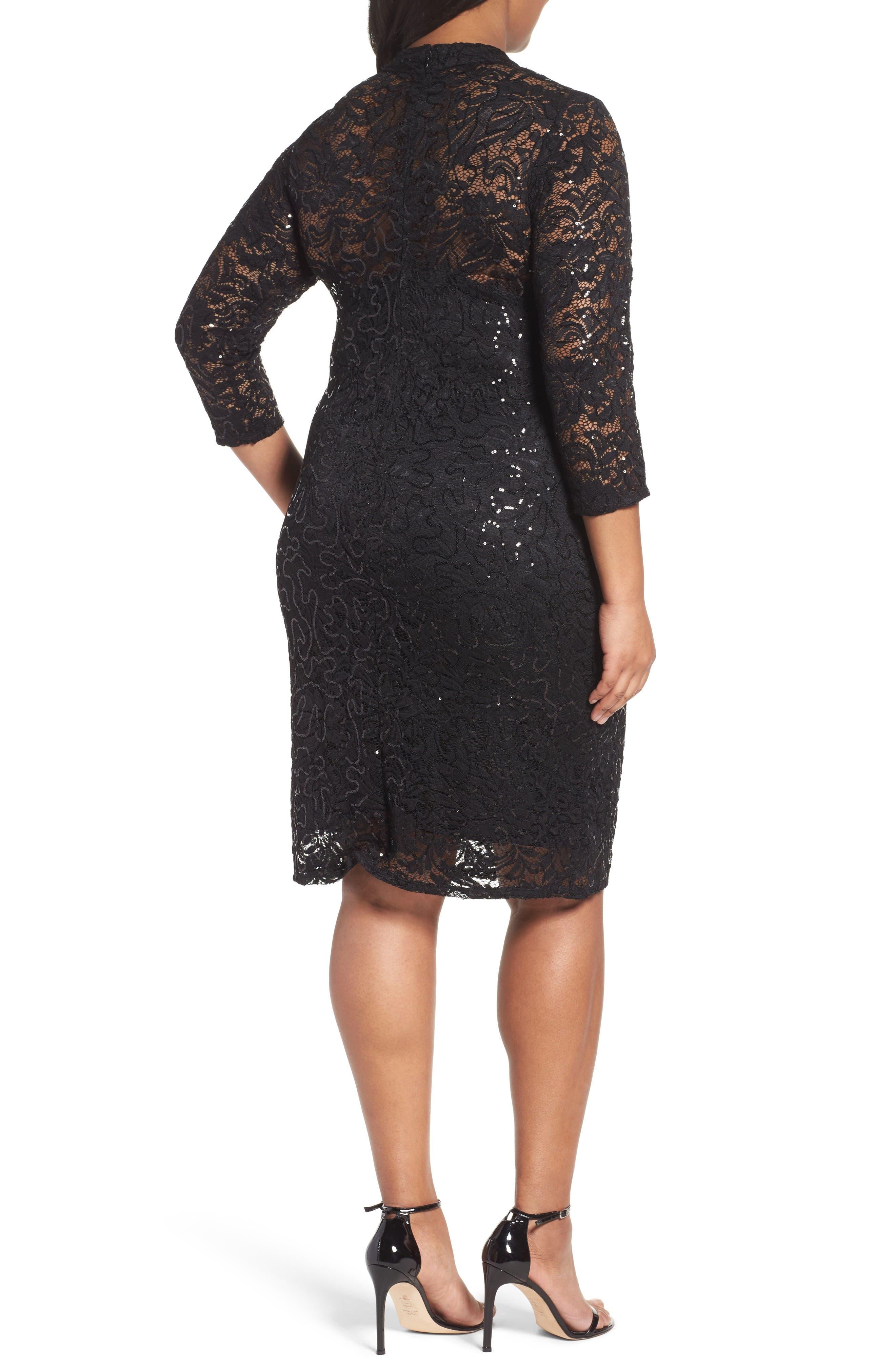 Cutout Sequin Lace Sheath Dress,                             Alternate thumbnail 2, color,                             001