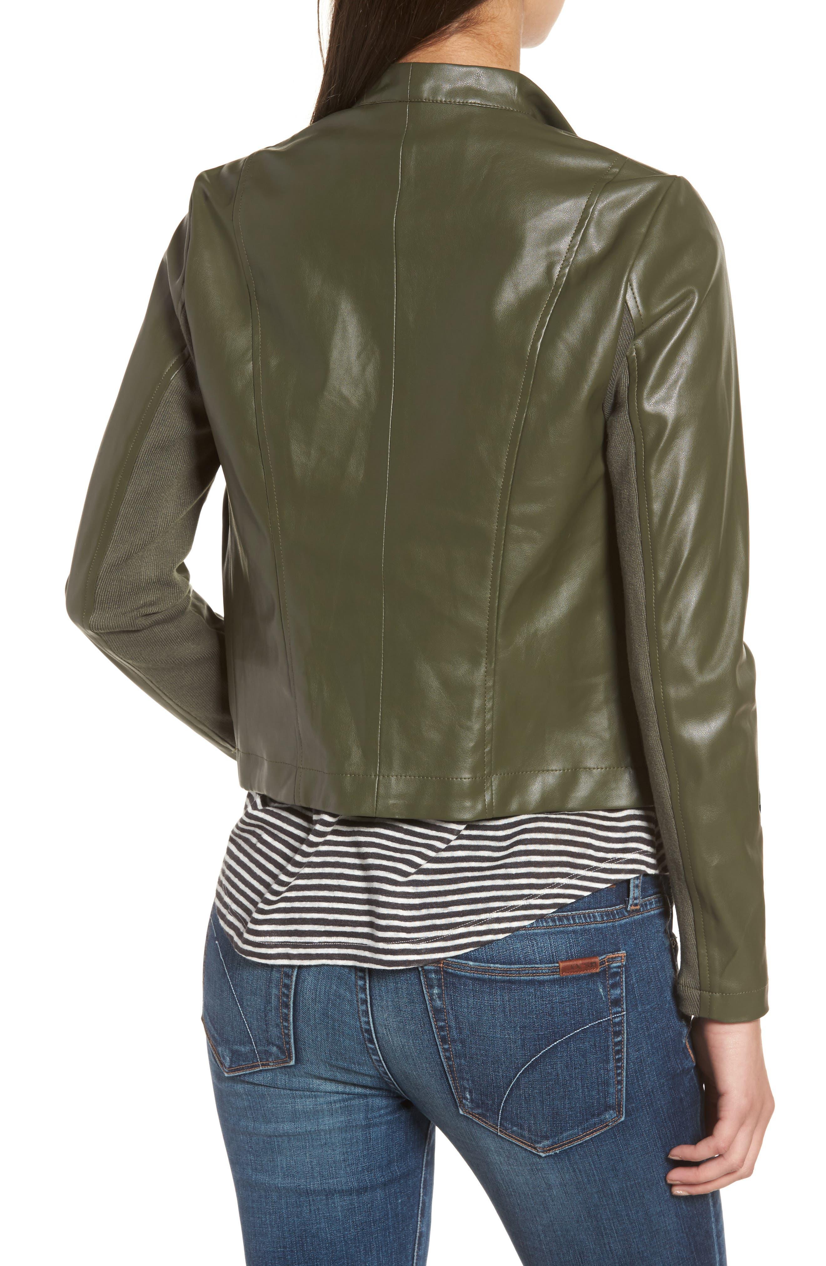 'Peppin' Drape Front Faux Leather Jacket,                             Alternate thumbnail 16, color,