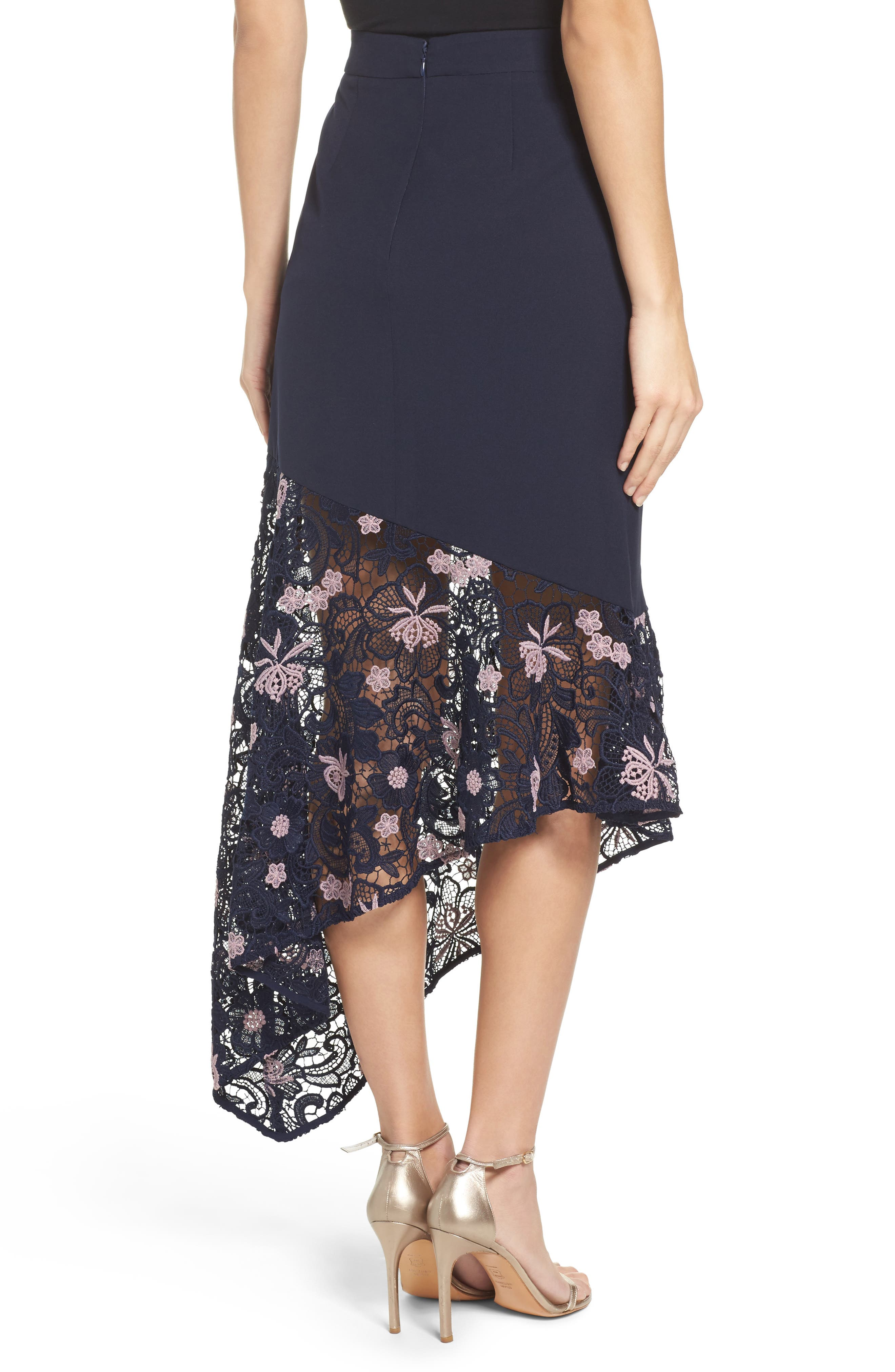Botanic Bloom Lace Asymmetric Skirt,                             Alternate thumbnail 2, color,                             413