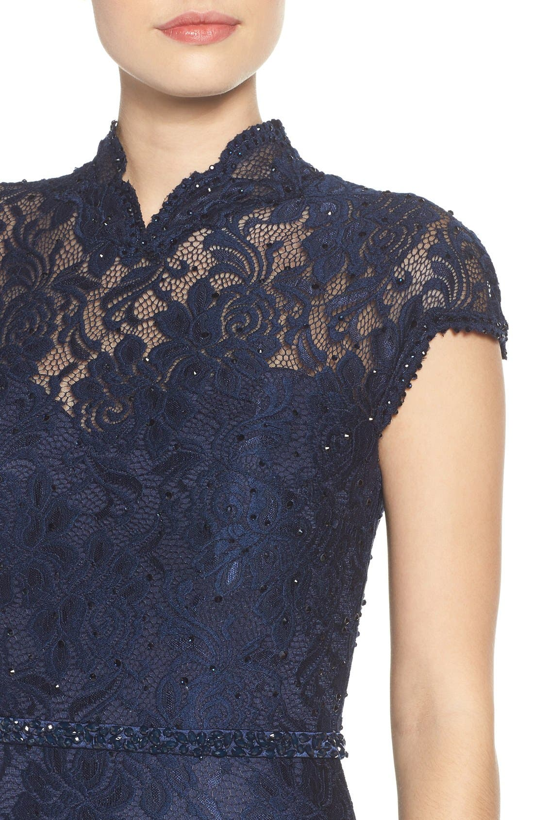 Embellished Lace Gown,                             Alternate thumbnail 11, color,                             NAVY