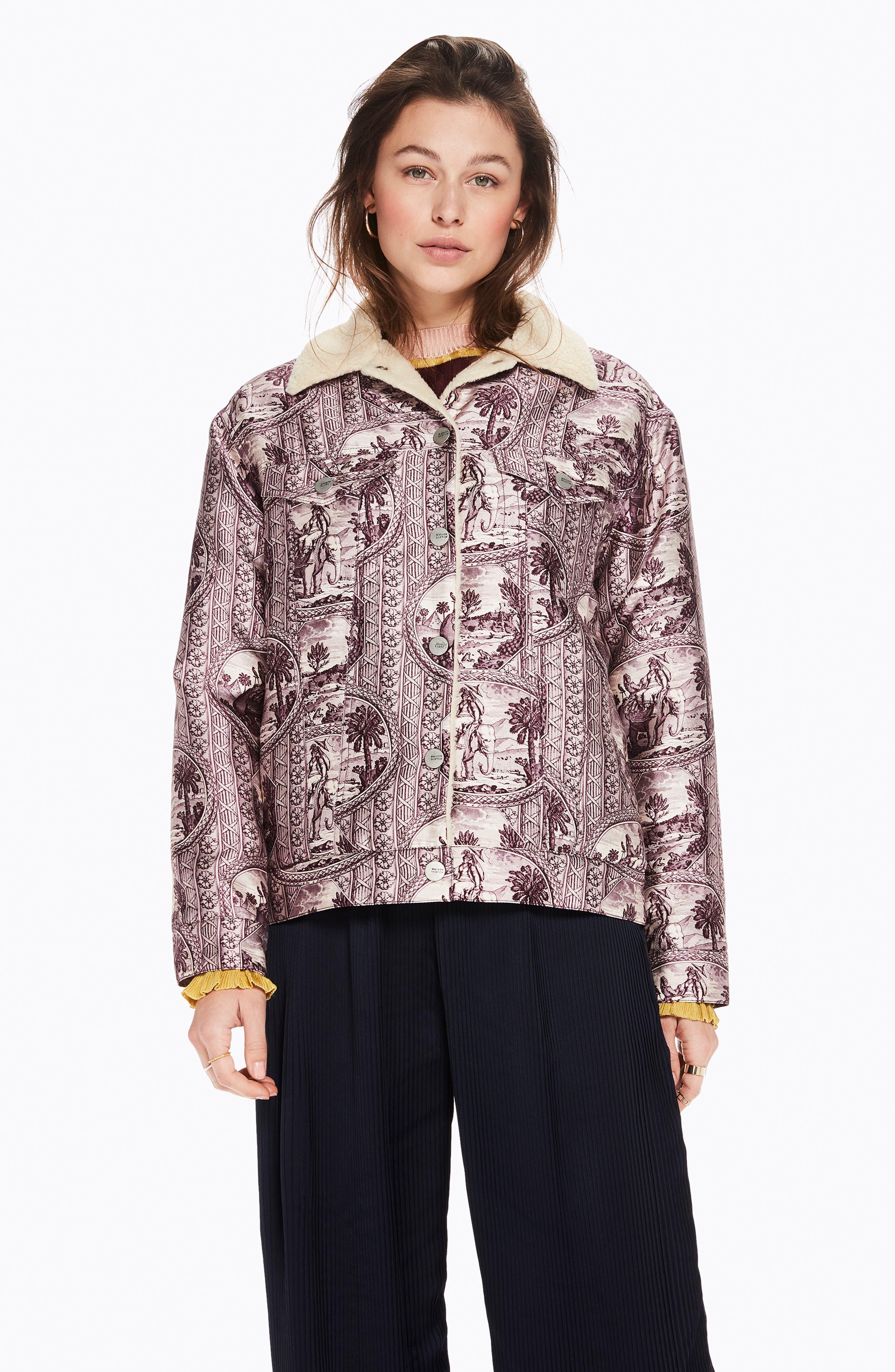 Fleece Lined Print Trucker Jacket,                             Alternate thumbnail 9, color,                             LILAC ELEPHANT PRINT