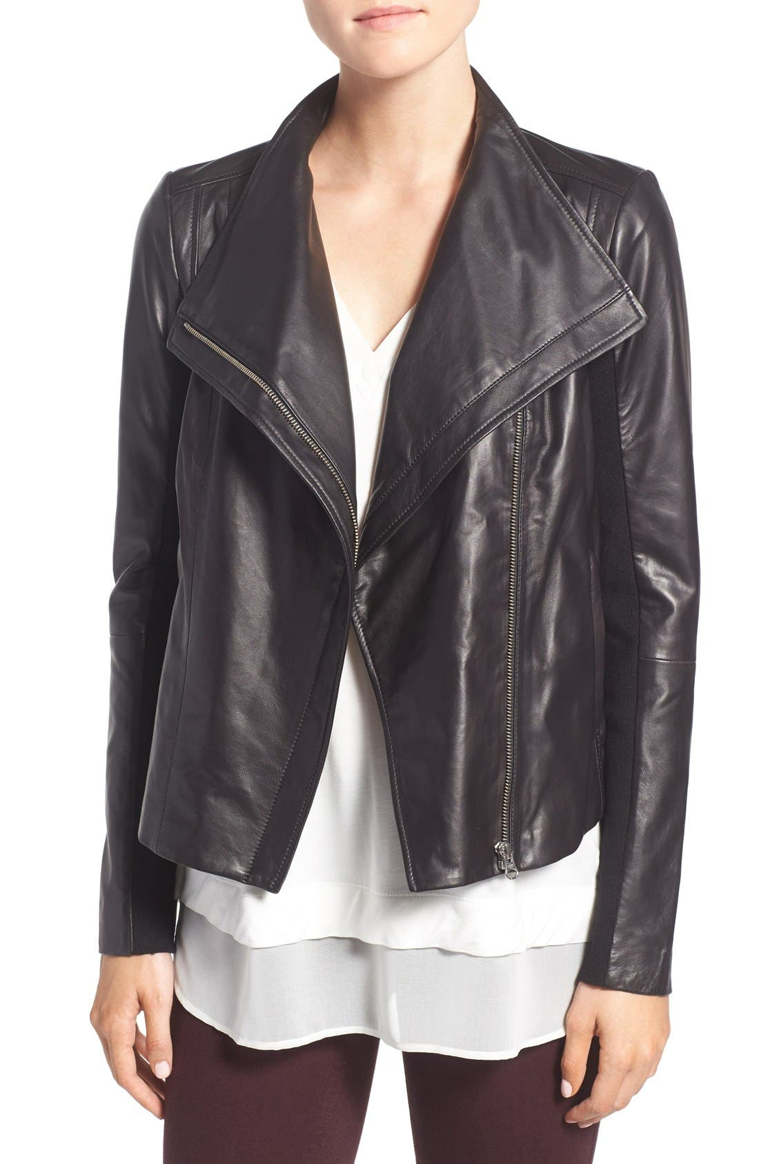 Leather Moto Jacket,                             Main thumbnail 1, color,                             BLACK