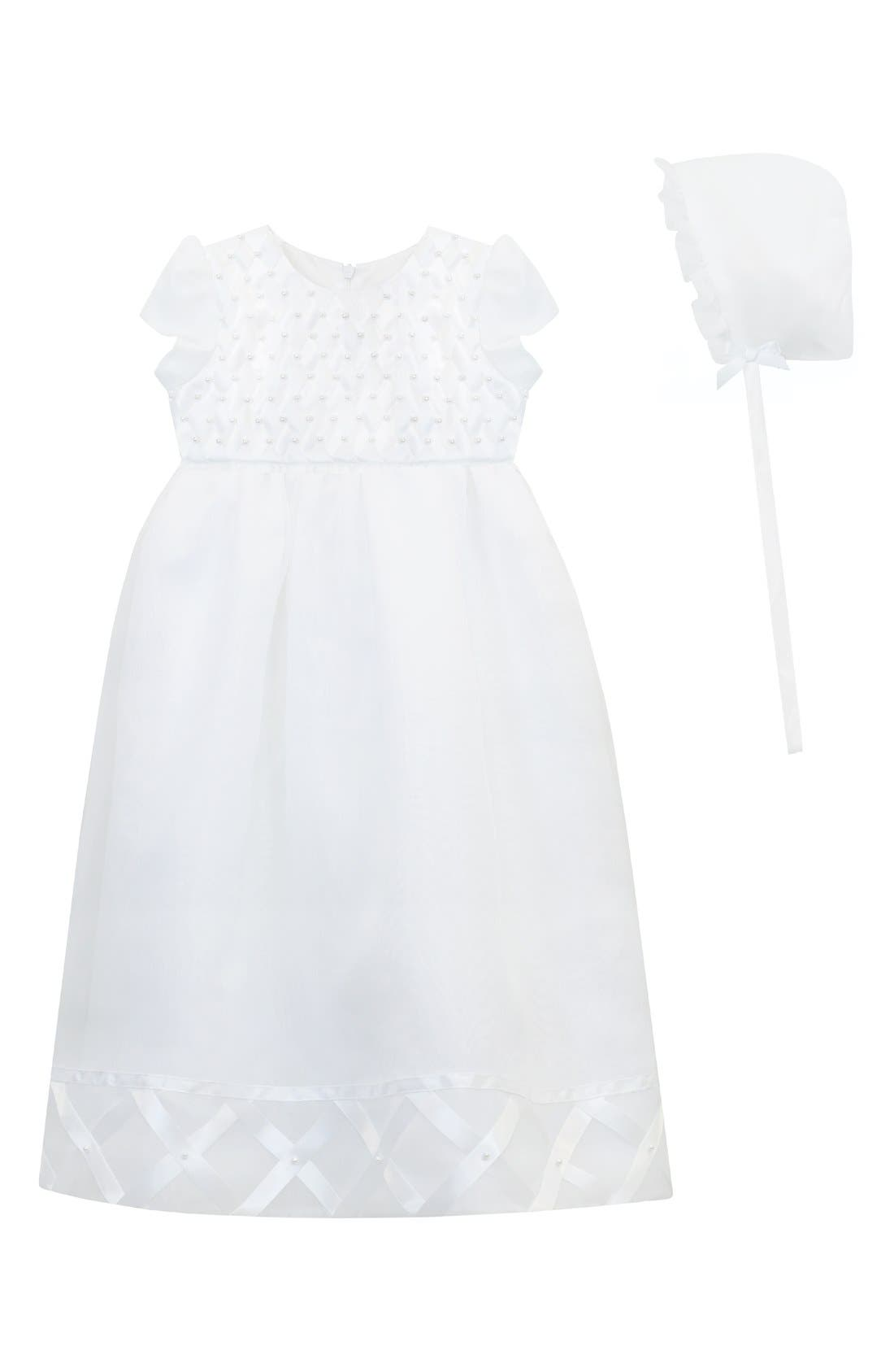 Christening Gown & Bonnet,                         Main,                         color, WHITE