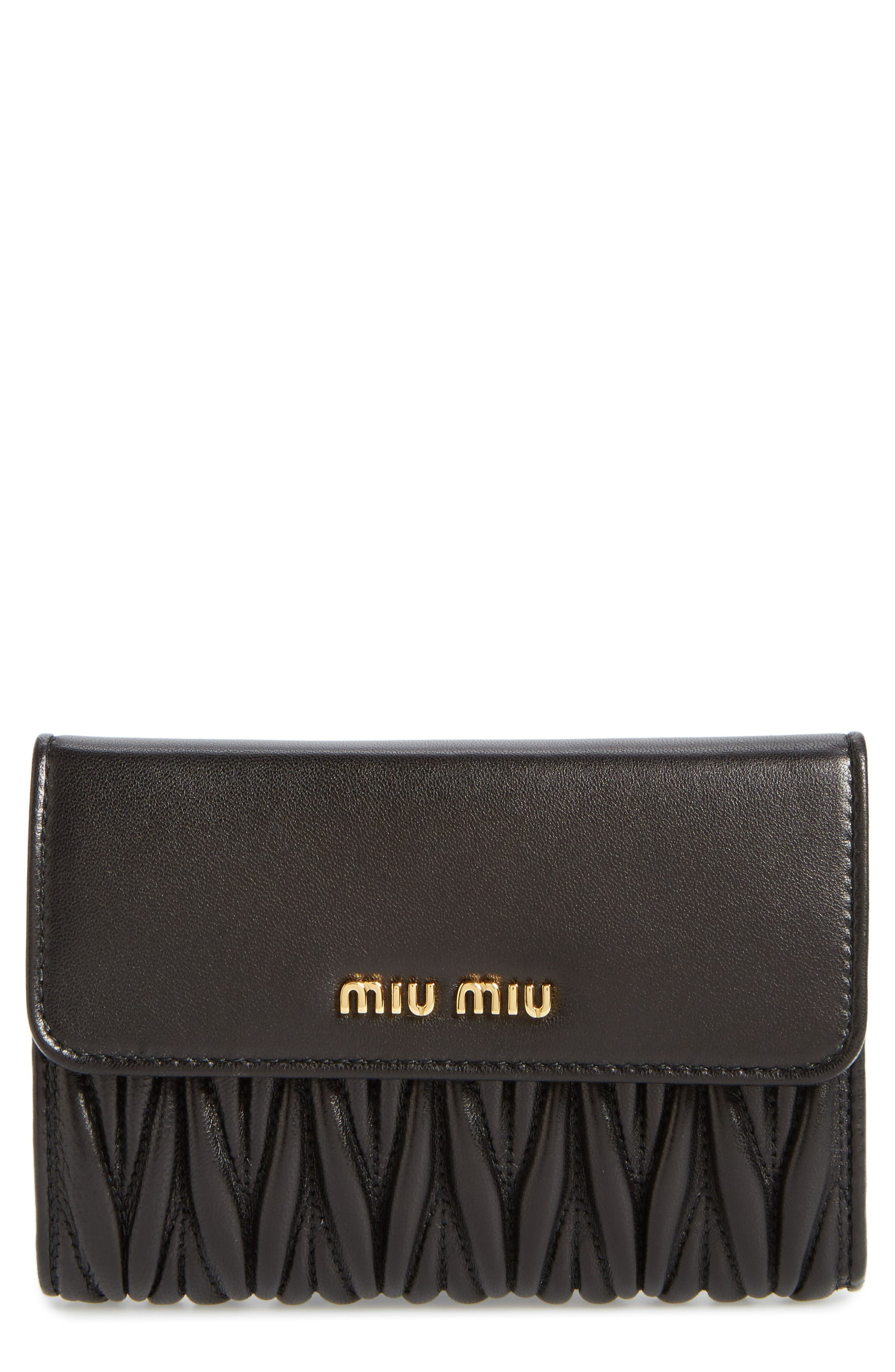 Matelassé Leather French Wallet,                             Main thumbnail 1, color,                             NERO