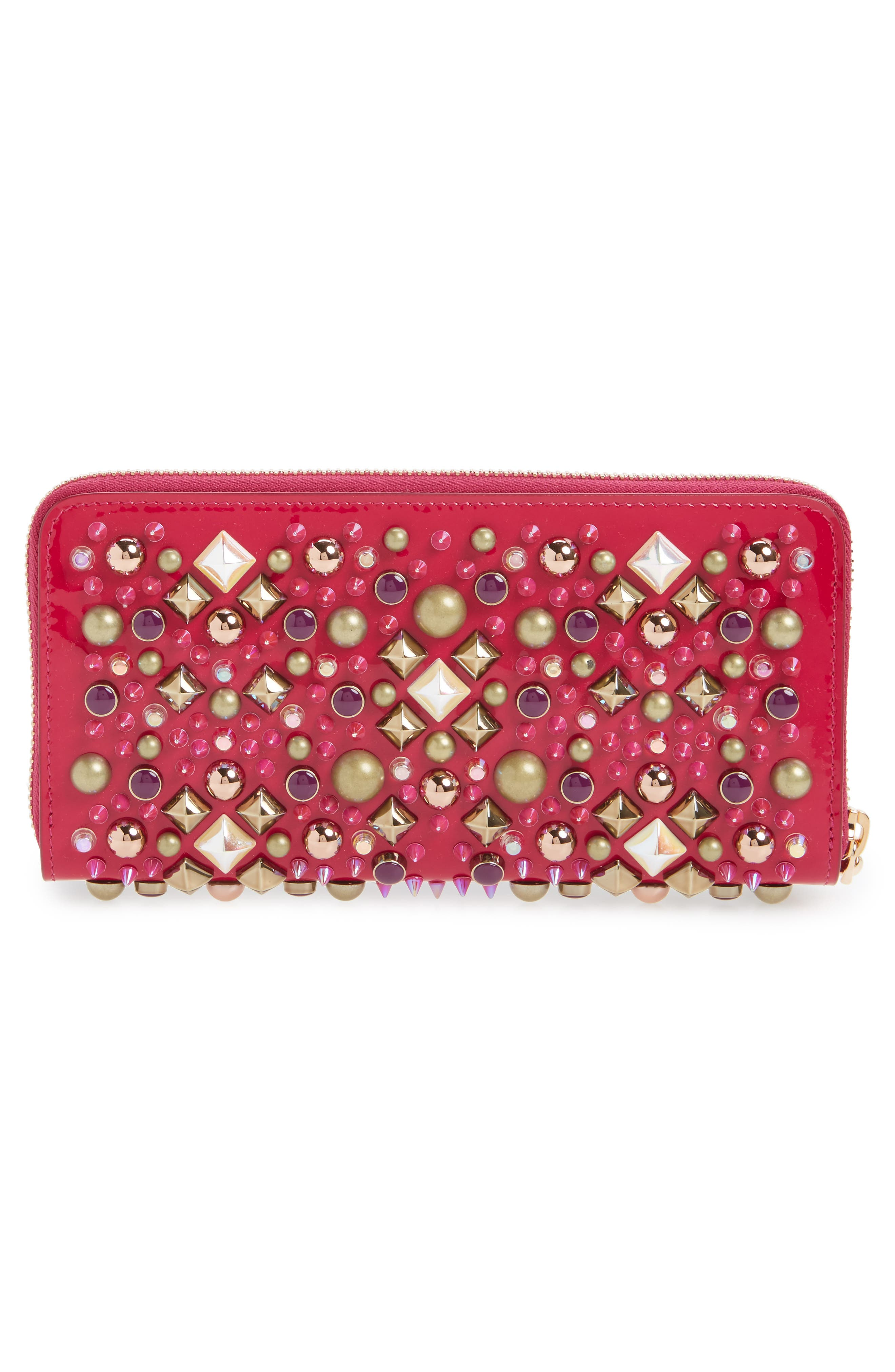 Panettone Spiked Patent Leather Wallet,                             Alternate thumbnail 3, color,                             693