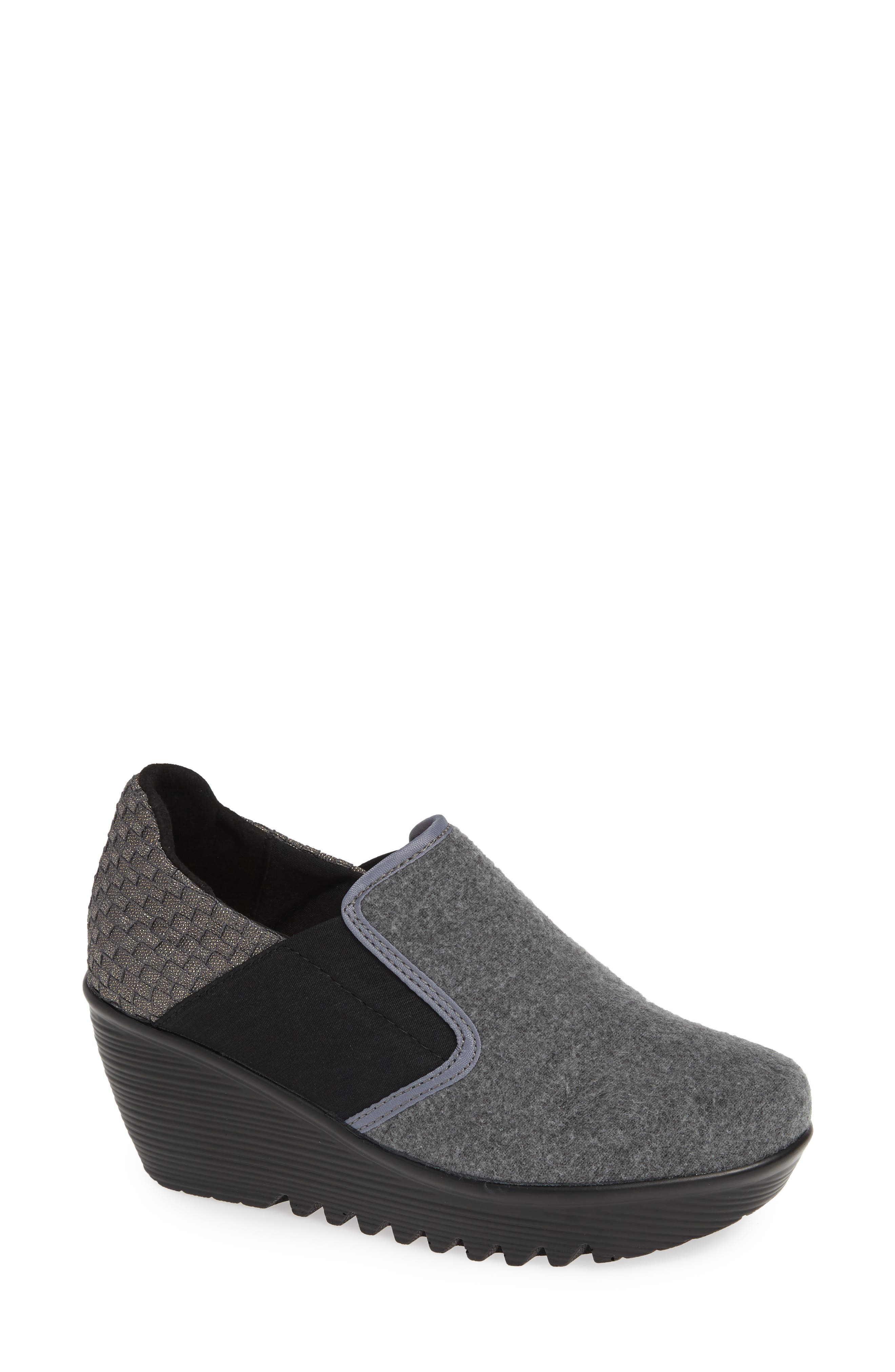 Bari Wedge,                         Main,                         color, GREY SHIMMER LEATHER