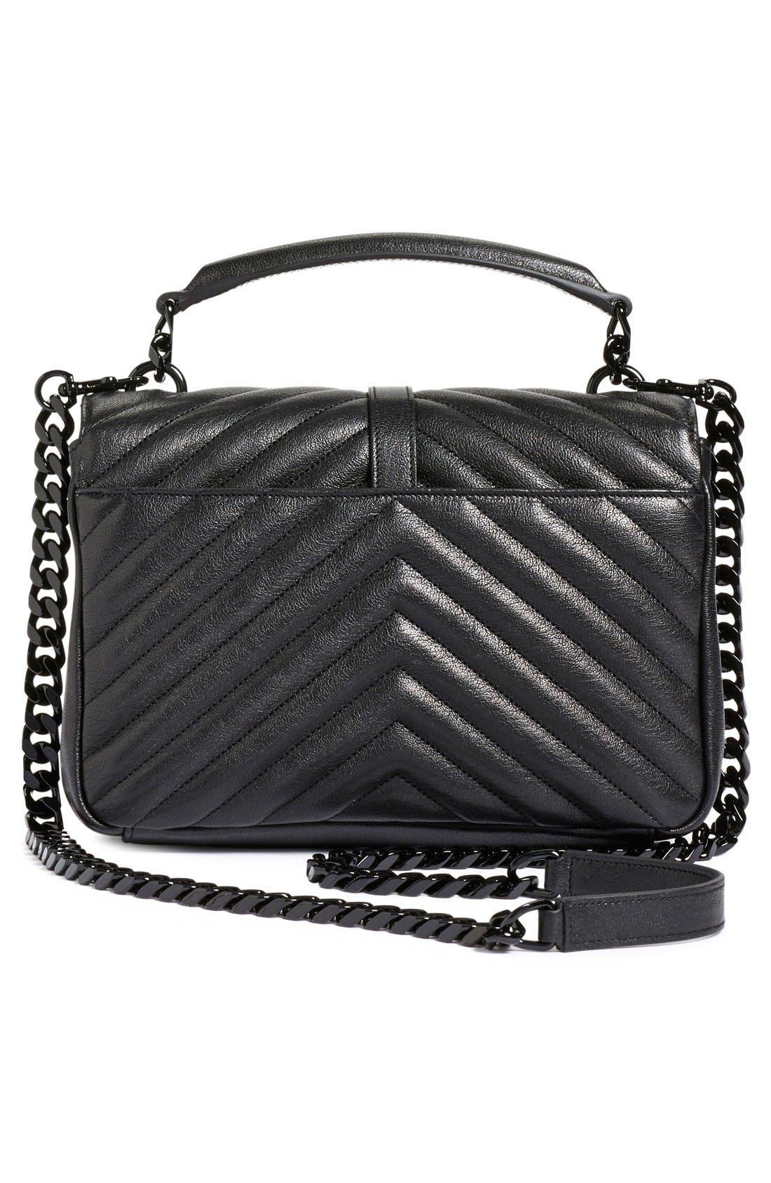 'Medium College' Quilted Leather Shoulder Bag,                             Alternate thumbnail 3, color,                             001