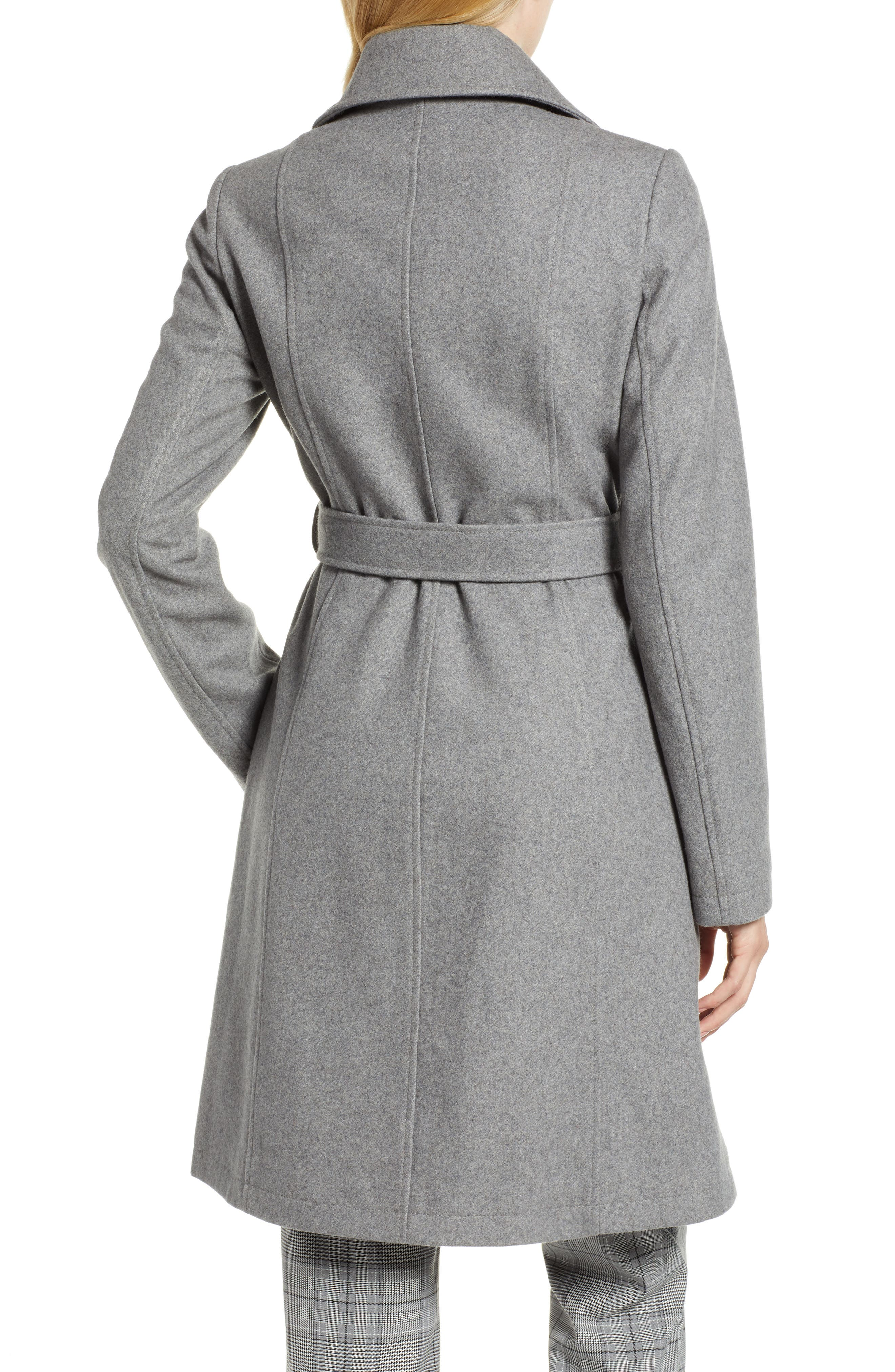Belted Wool Blend Coat,                             Alternate thumbnail 2, color,                             GREY