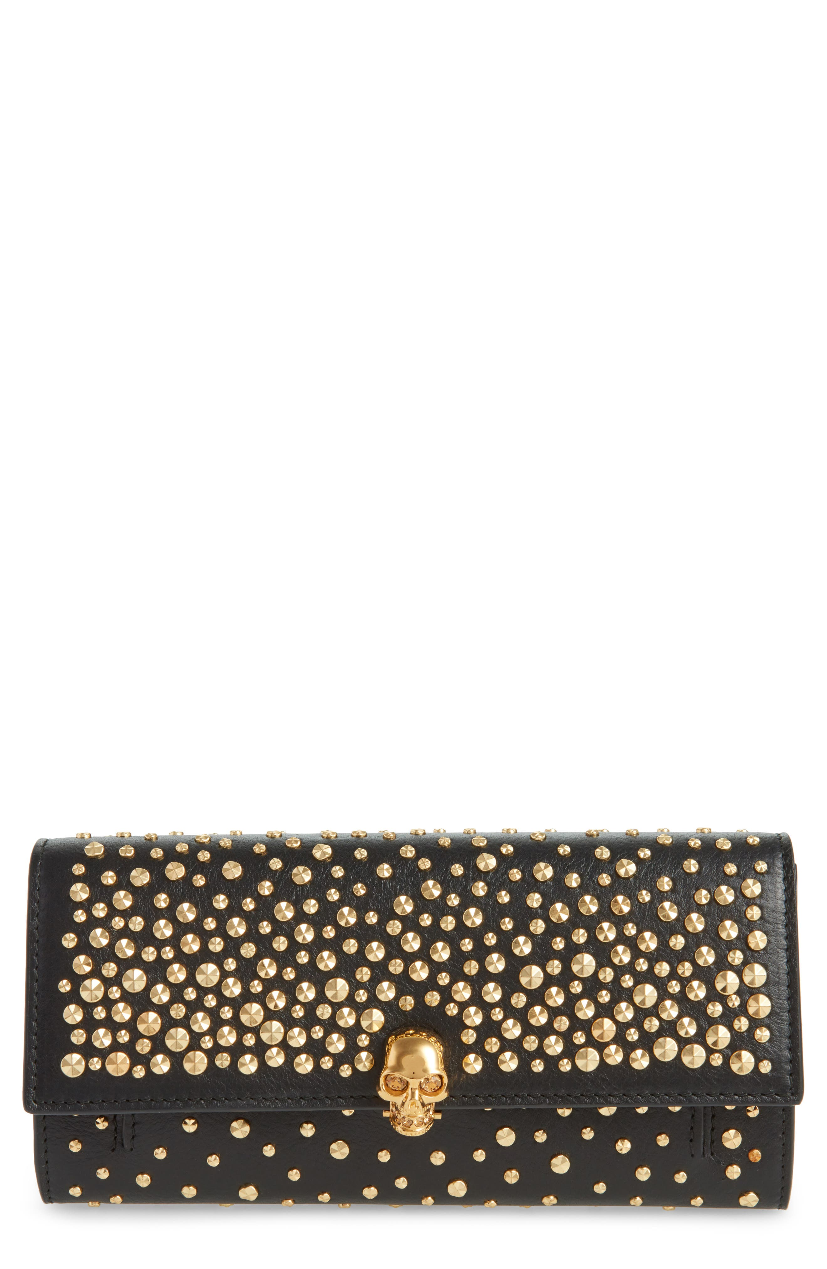 Studded Skull Leather Wallet on a Chain,                             Main thumbnail 1, color,                             BLACK