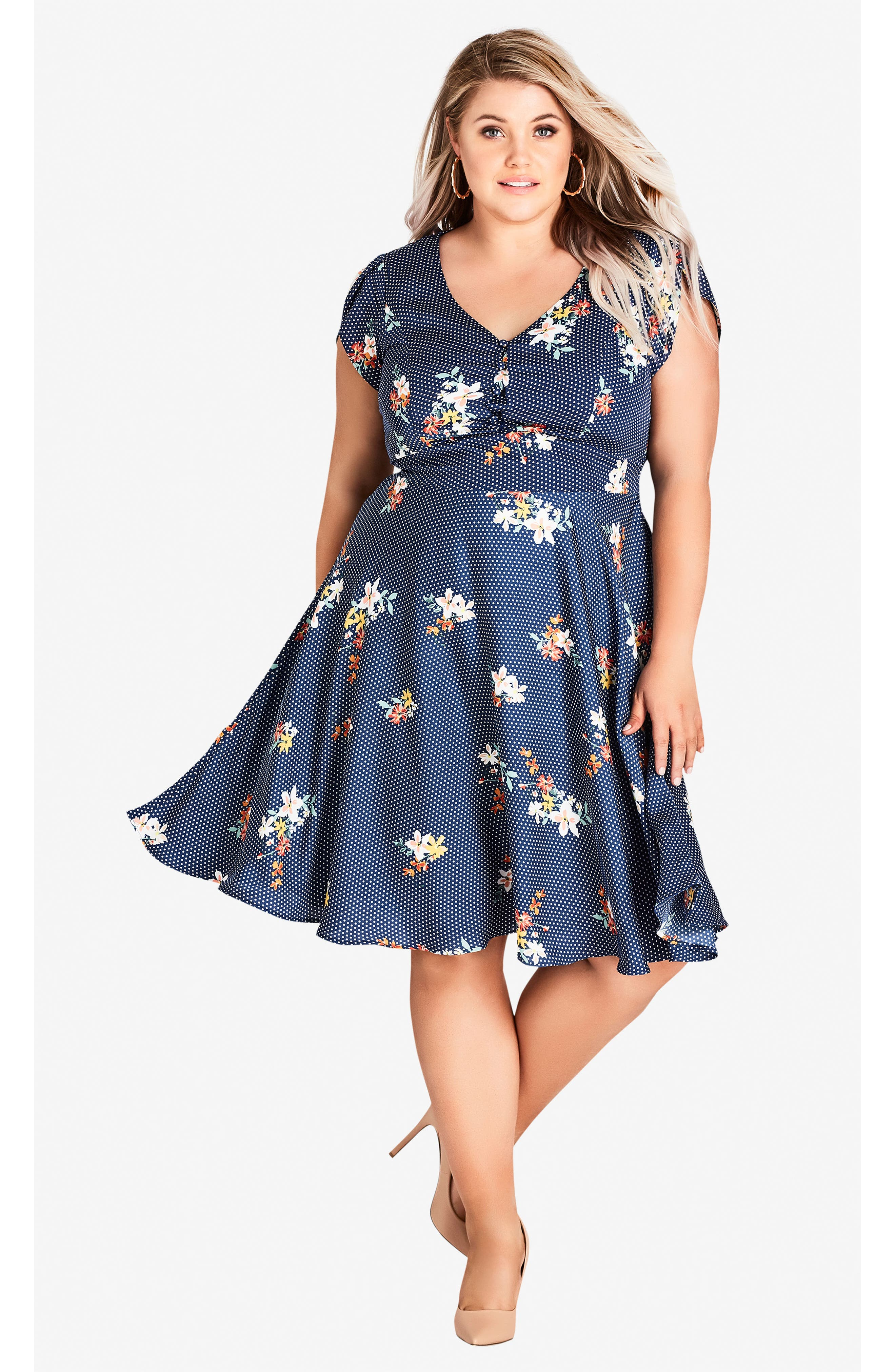 Sweet Spot Floral Fit & Flare Dress,                             Alternate thumbnail 4, color,                             SPOT THE FLORAL