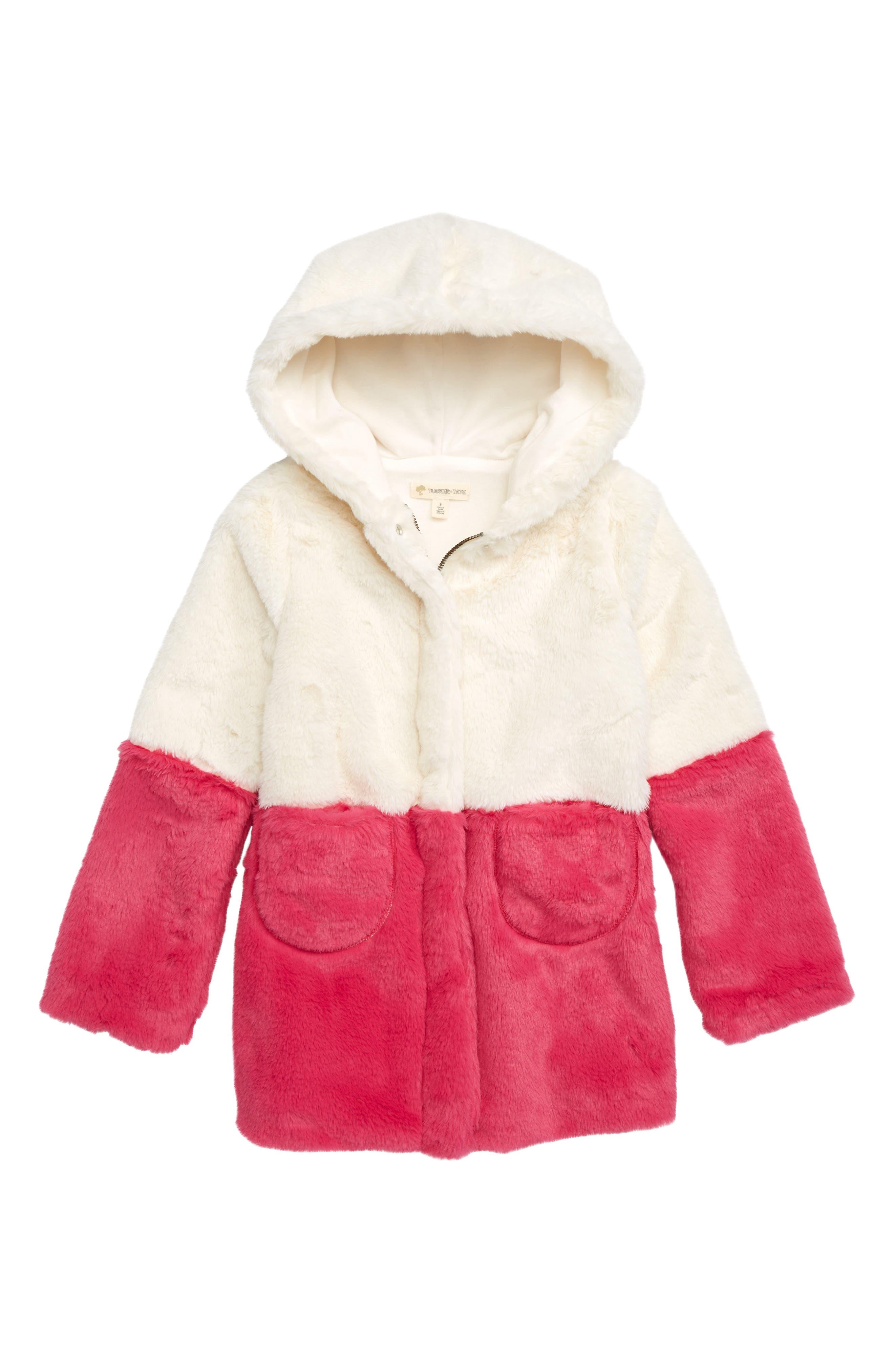 Coloblock Faux Fur Jacket,                         Main,                         color, IVORY EGRET- PINK