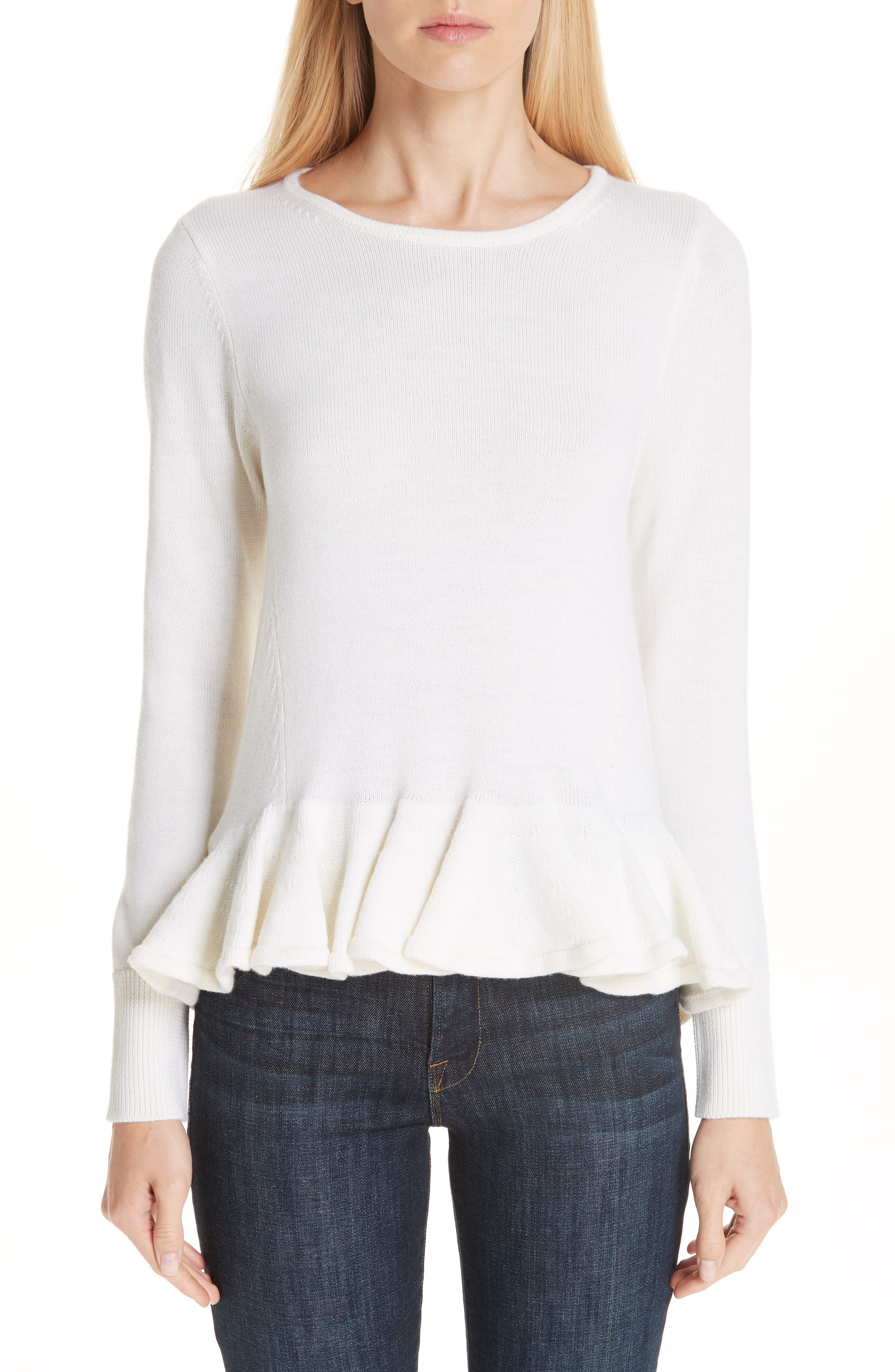 Ruffle Peplum Wool Sweater,                         Main,                         color, IVORY
