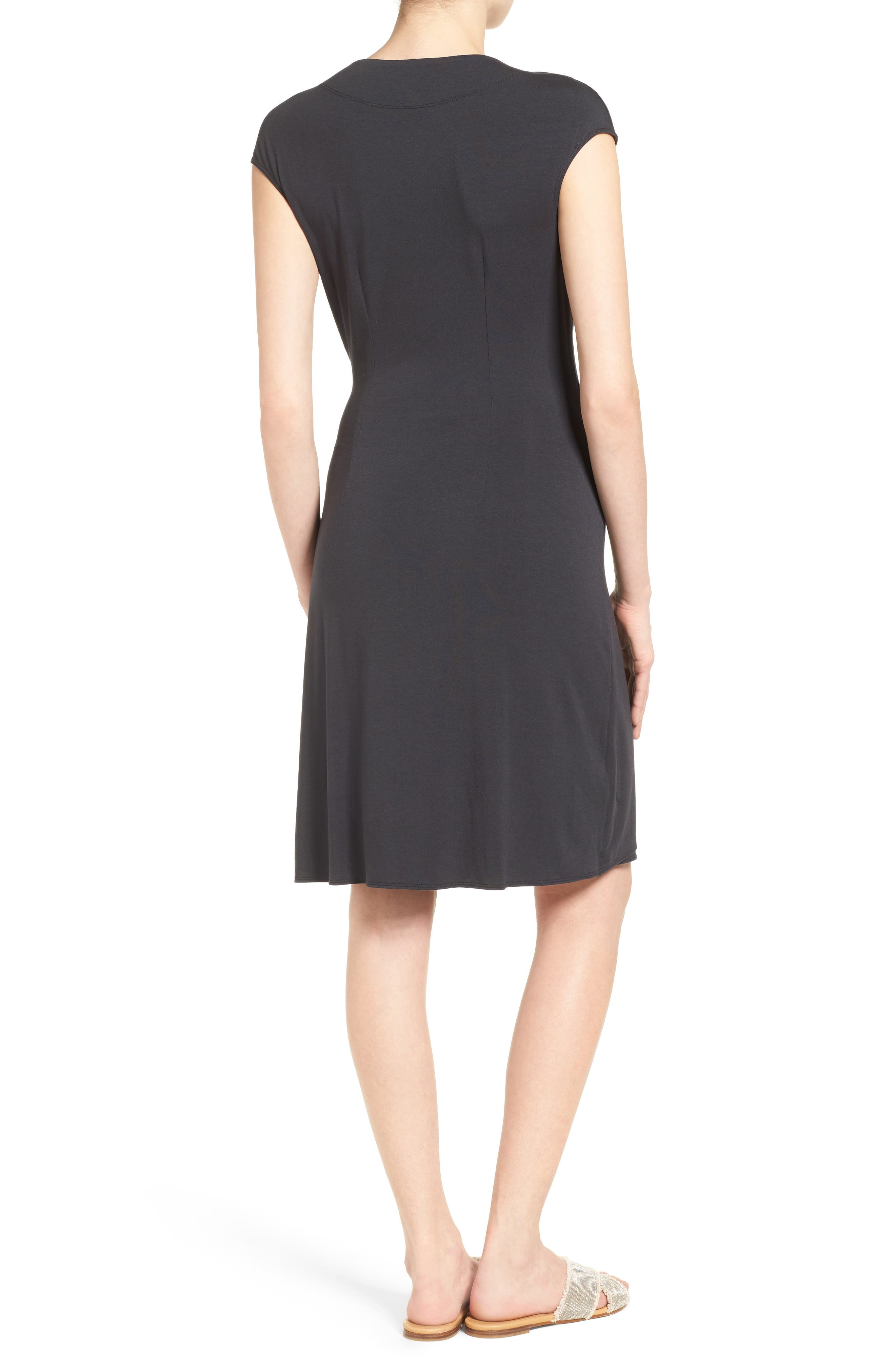 Tambour Side Gathered Jersey Dress,                             Alternate thumbnail 2, color,                             001