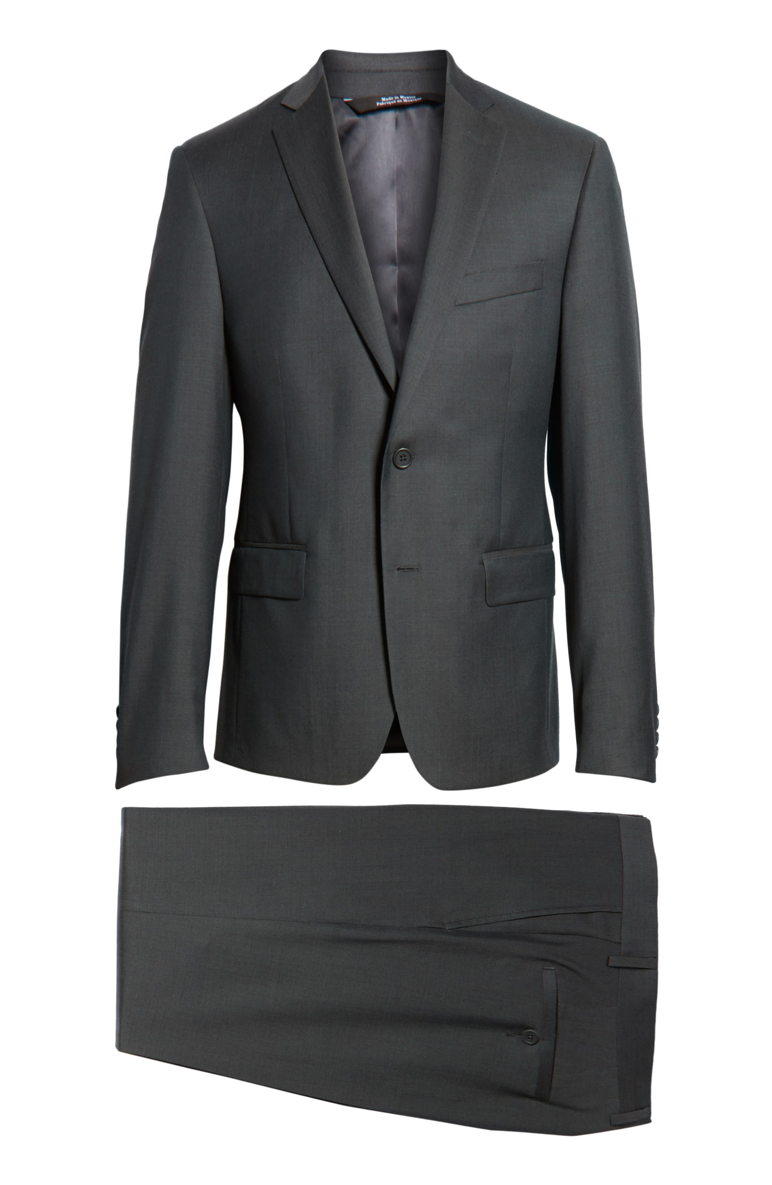 Extra Trim Fit Solid Wool Suit,                             Alternate thumbnail 8, color,                             021