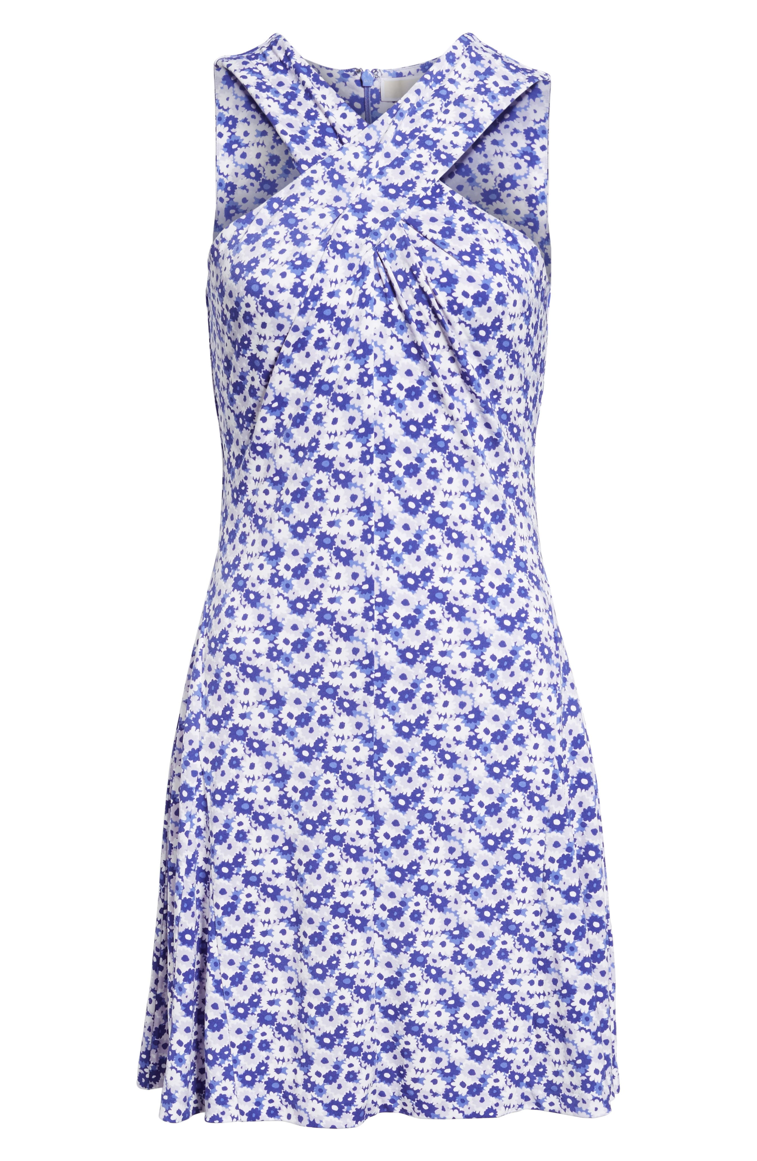 Carnations Cross Neck Fit and Flare Dress,                             Alternate thumbnail 12, color,