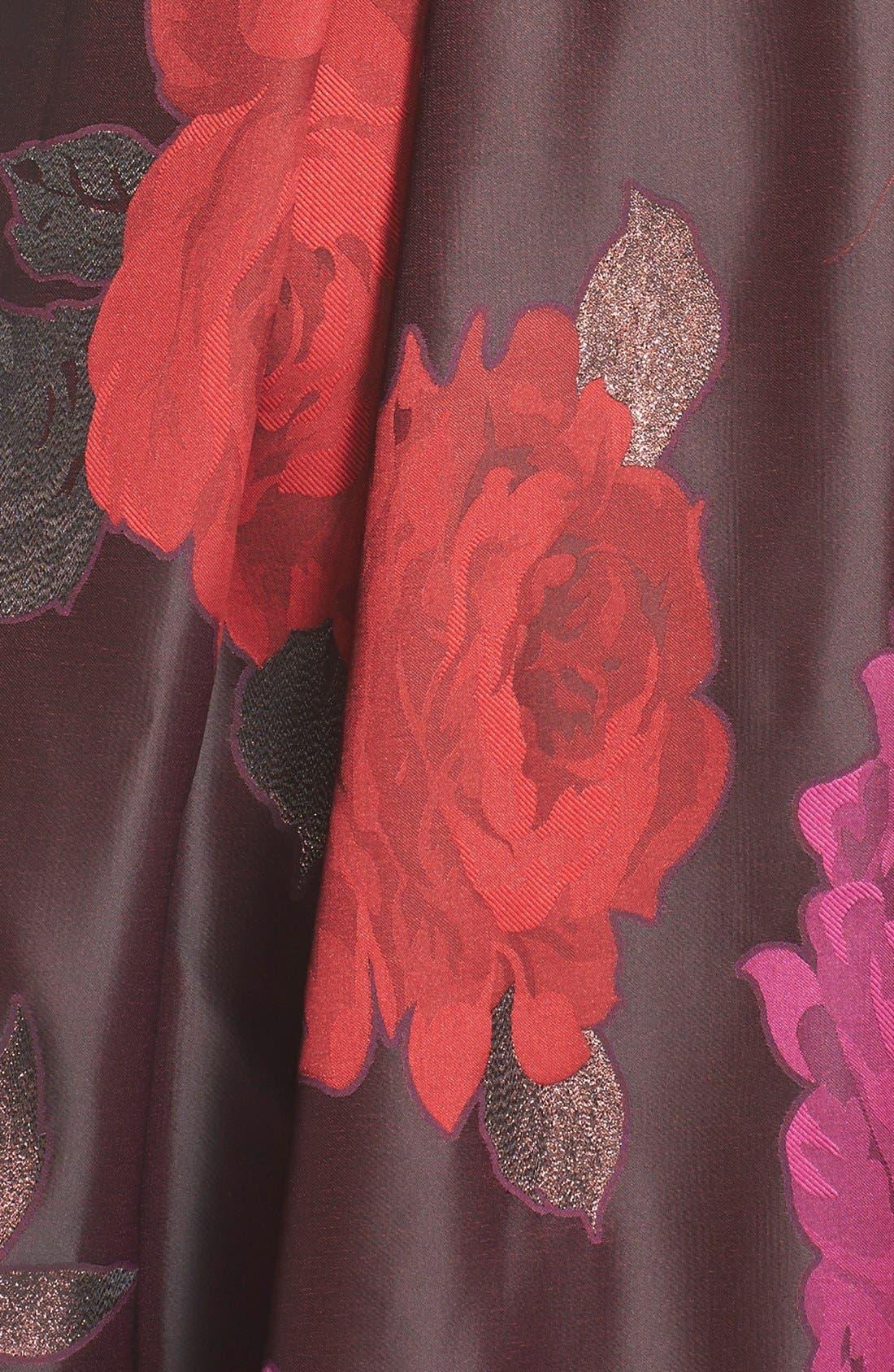 Floral Jacquard Fit & Flare Dress,                             Alternate thumbnail 4, color,                             014