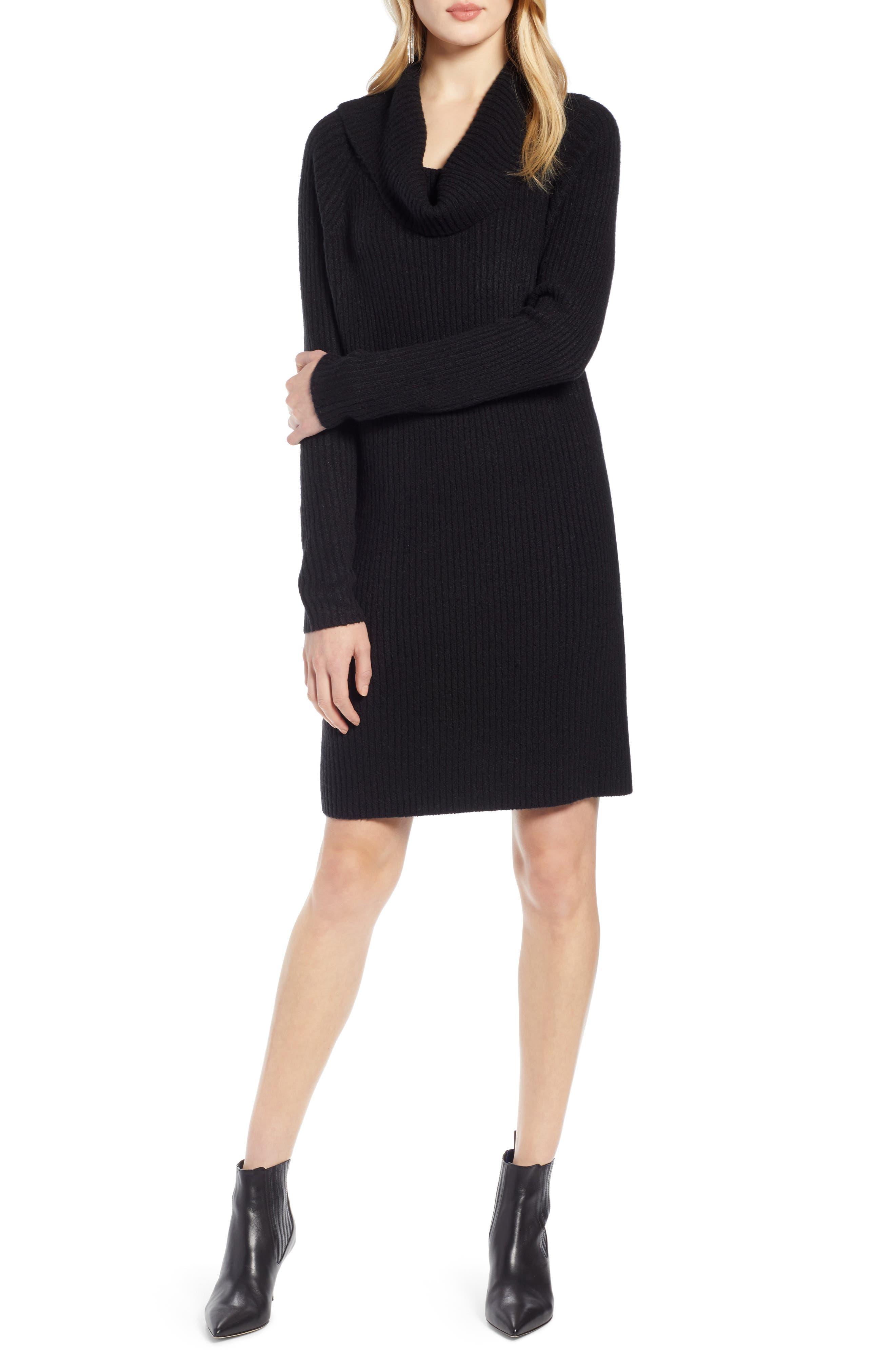 Halogen Cowl Neck Sweater Dress, Black