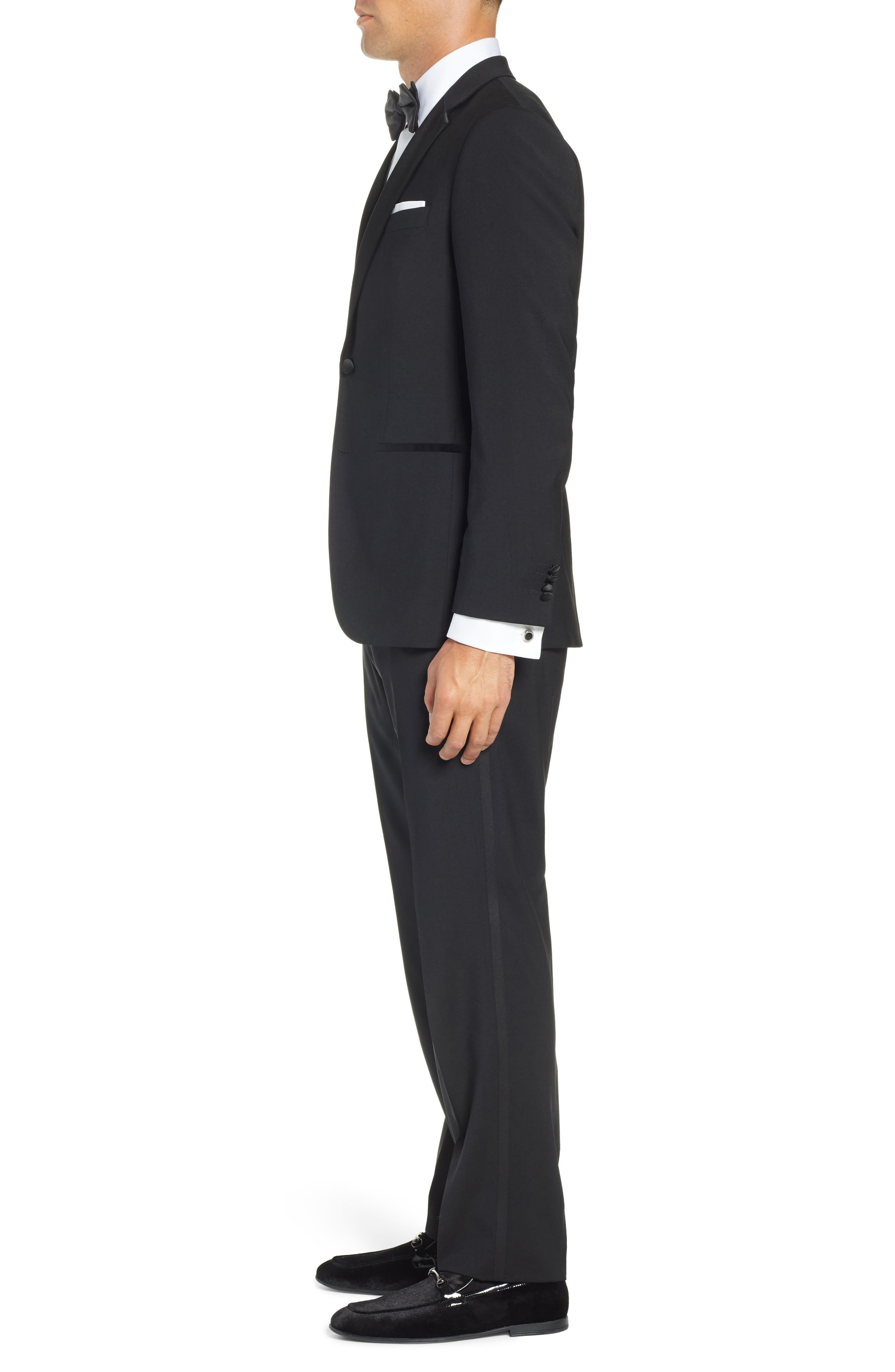 BOSS,                             The Stars/Glamour Trim Fit Wool Tuxedo,                             Alternate thumbnail 3, color,                             001