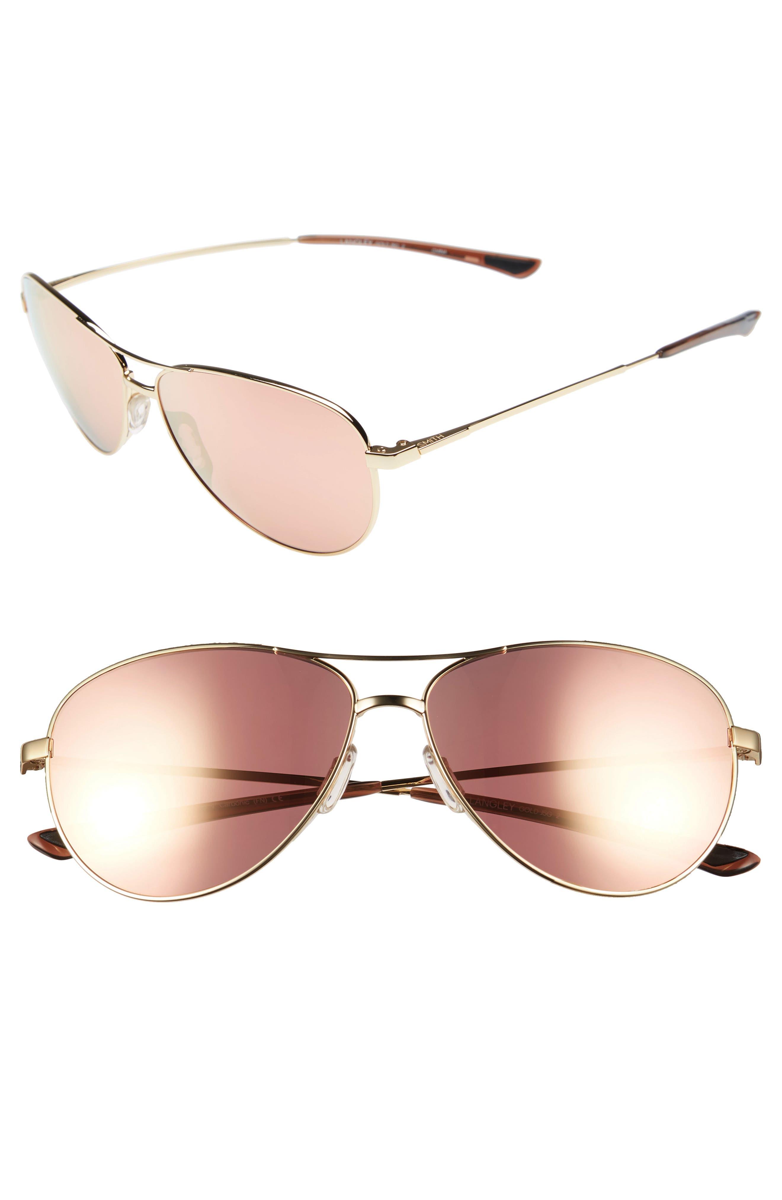 SMITH 'Langley' 60mm Aviator Sunglasses, Main, color, GOLD