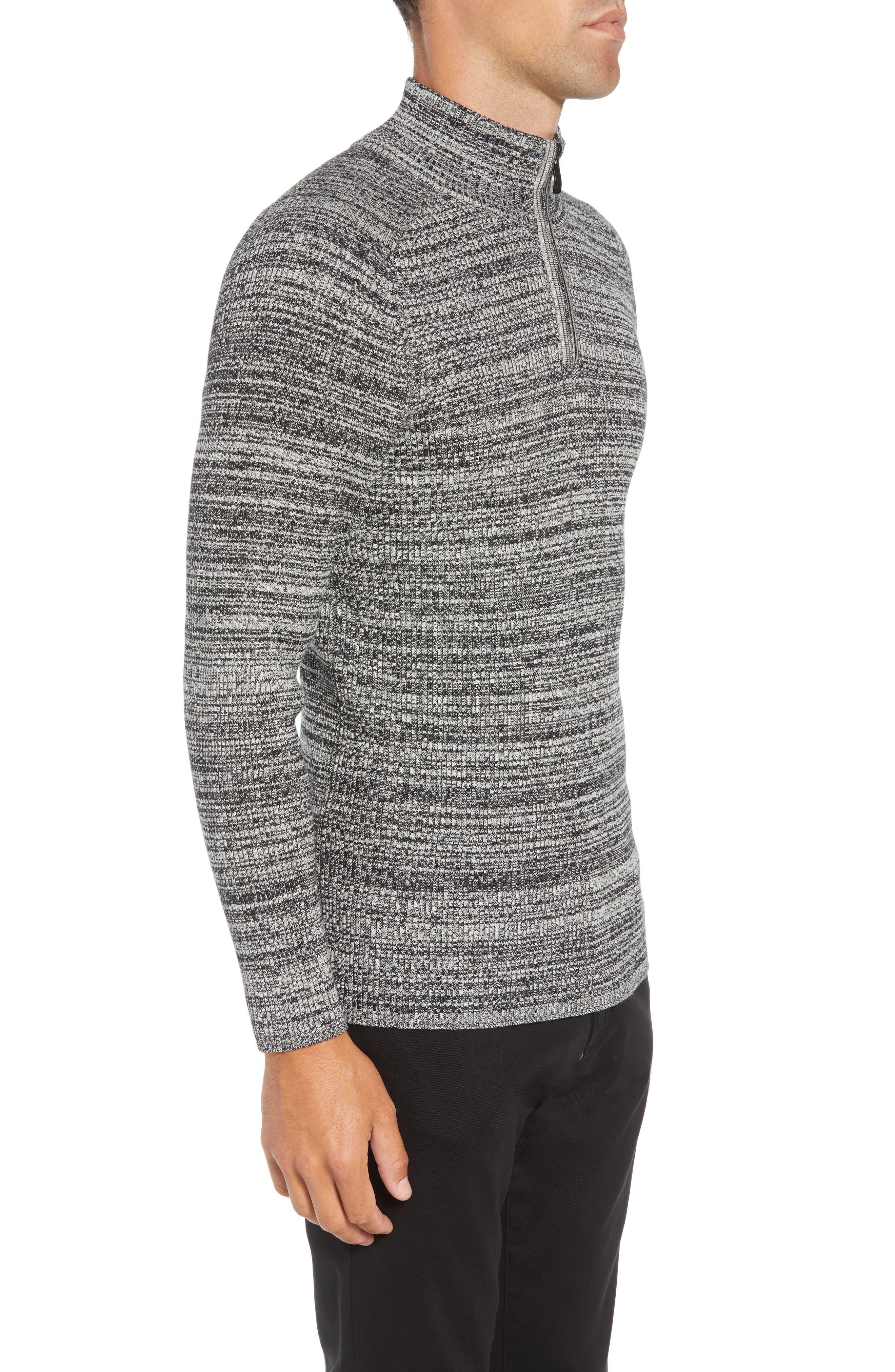 Vince Caumto Quarter Zip Mock Neck Sweater,                             Alternate thumbnail 3, color,                             GREY
