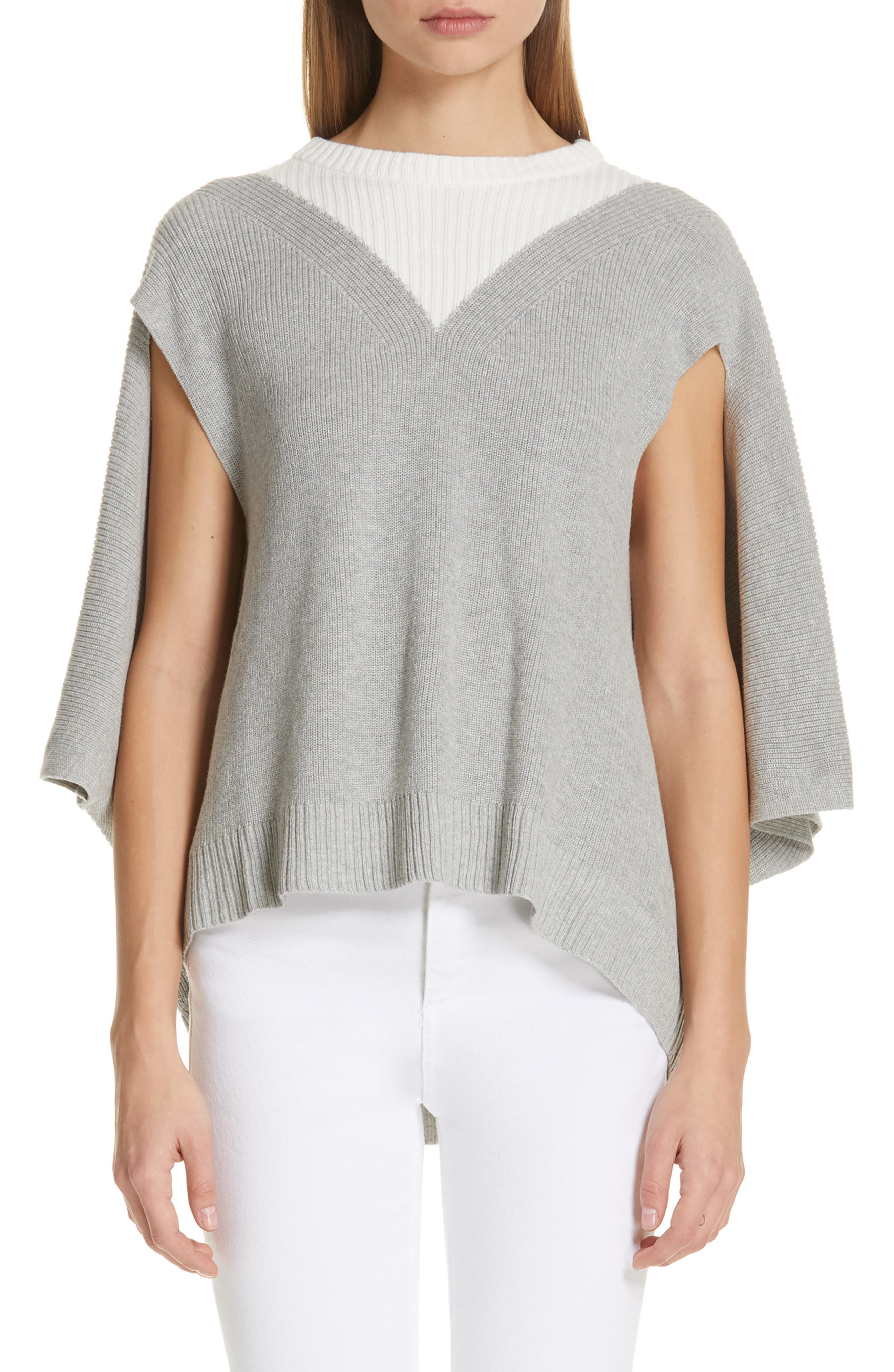PALMER//HARDING Dual Sweater in Grey/ Off White