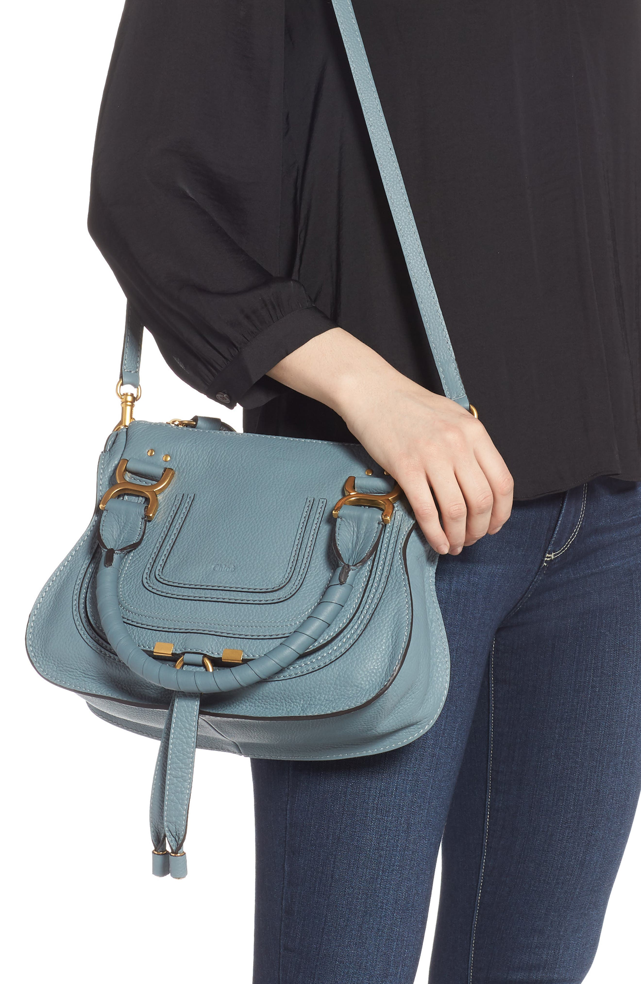 Small Marcie Calfskin Leather Satchel,                             Alternate thumbnail 2, color,                             CLOUDY BLUE