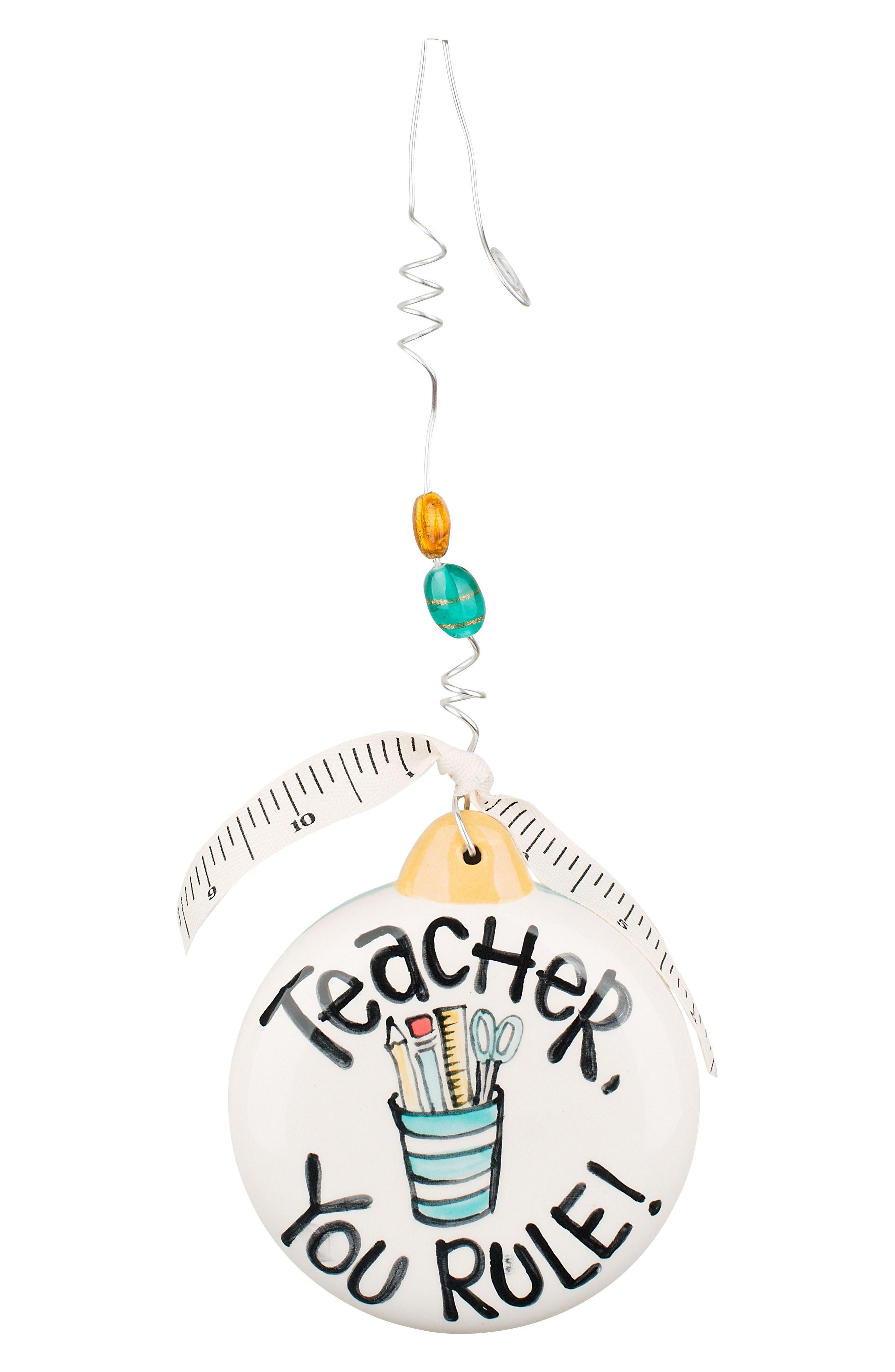 Teacher You Rule Ceramic Ornament,                             Main thumbnail 1, color,                             400