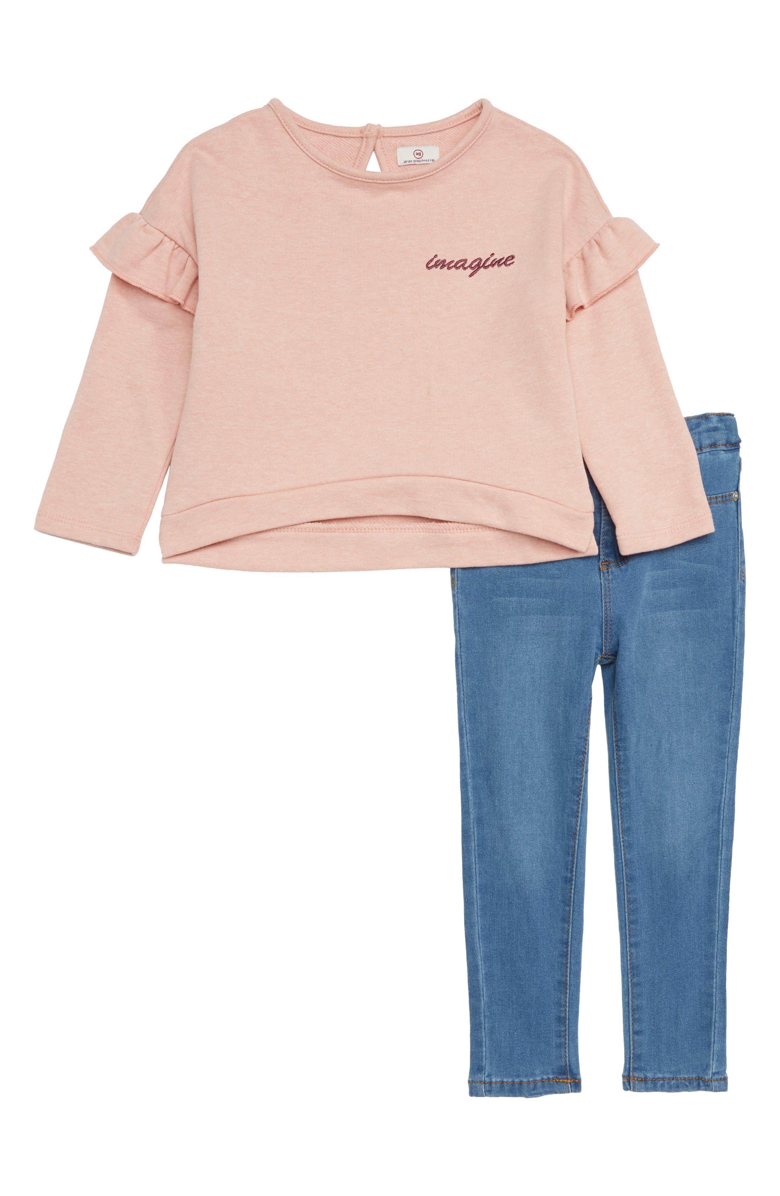 Sweatshirt & Jeans Set,                         Main,                         color, BLUE WASH