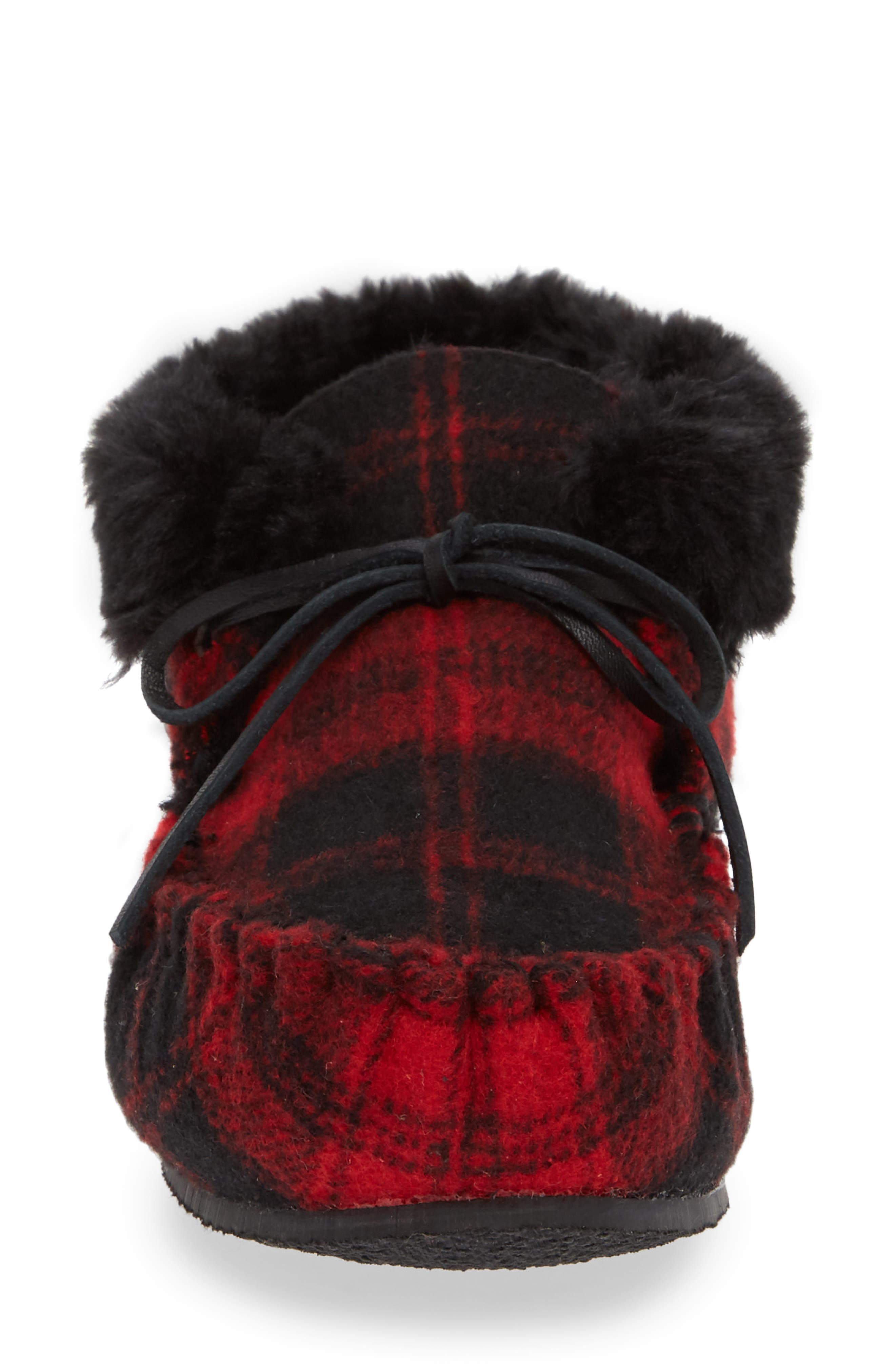 MINNETONKA,                             'Chrissy' Slipper Bootie,                             Alternate thumbnail 4, color,                             RED PLAID FABRIC