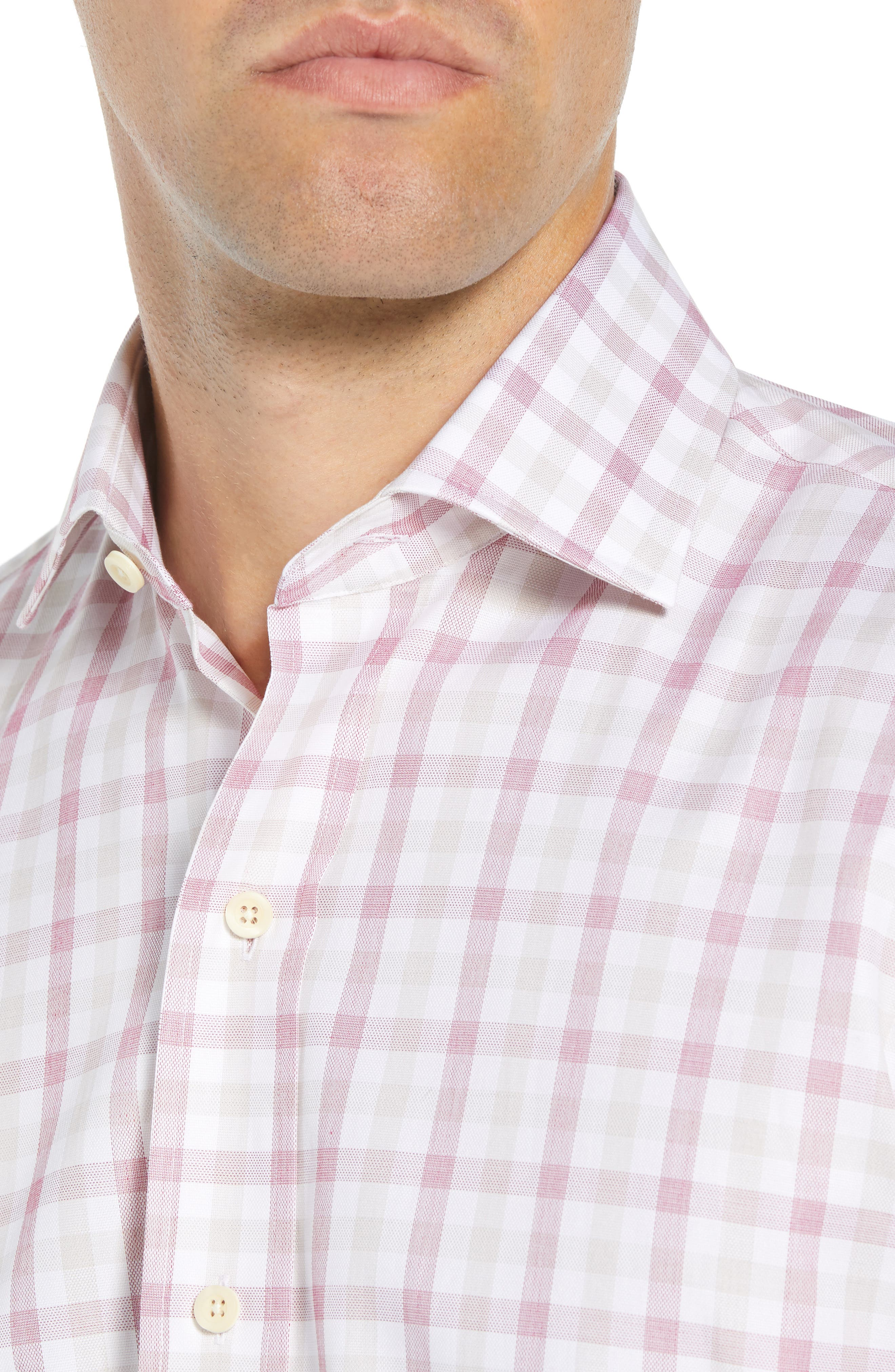 Corbly Trim Fit Check Dress Shirt,                             Alternate thumbnail 2, color,                             RED