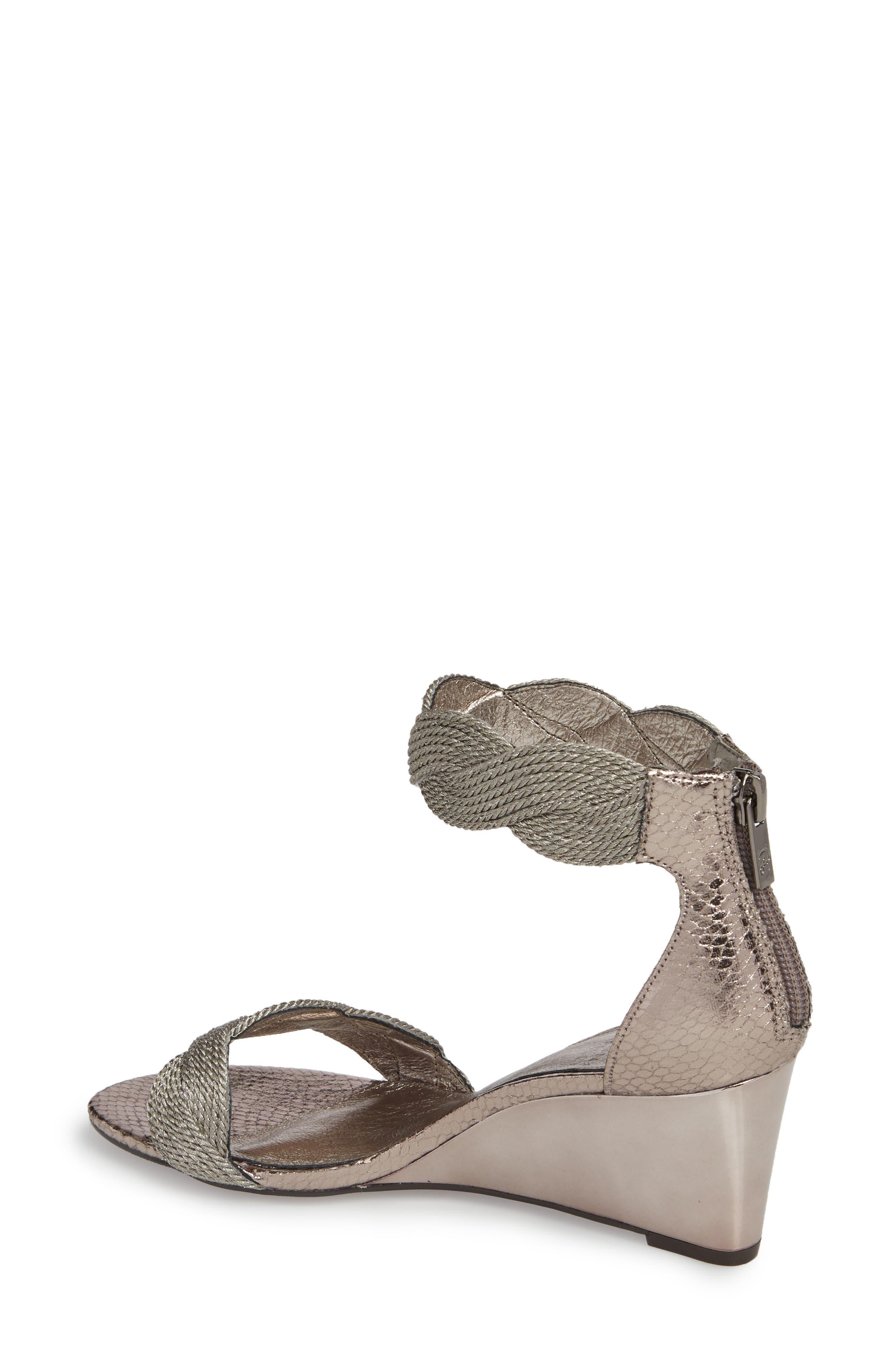 Adore Ankle Strap Sandal,                             Alternate thumbnail 2, color,                             GUNMETAL FABRIC