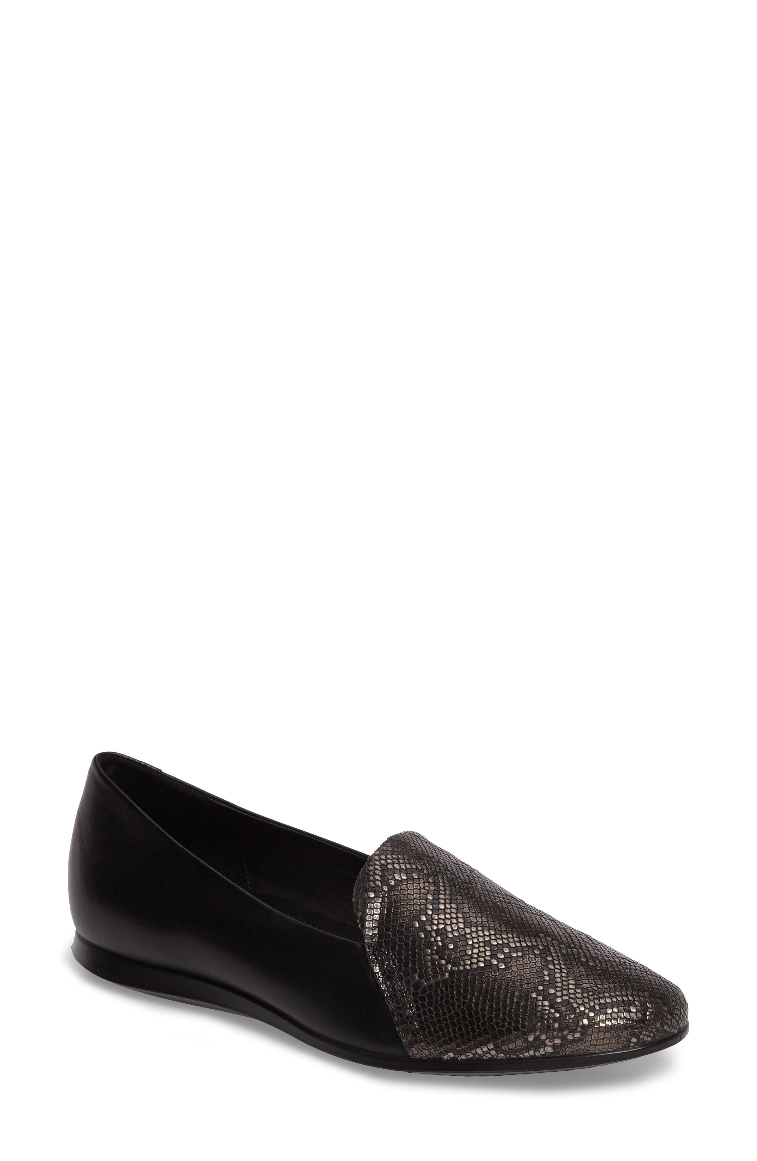 Touch 2.0 Scale Embossed Loafer Flat,                             Main thumbnail 1, color,                             DARK SHADOW LEATHER