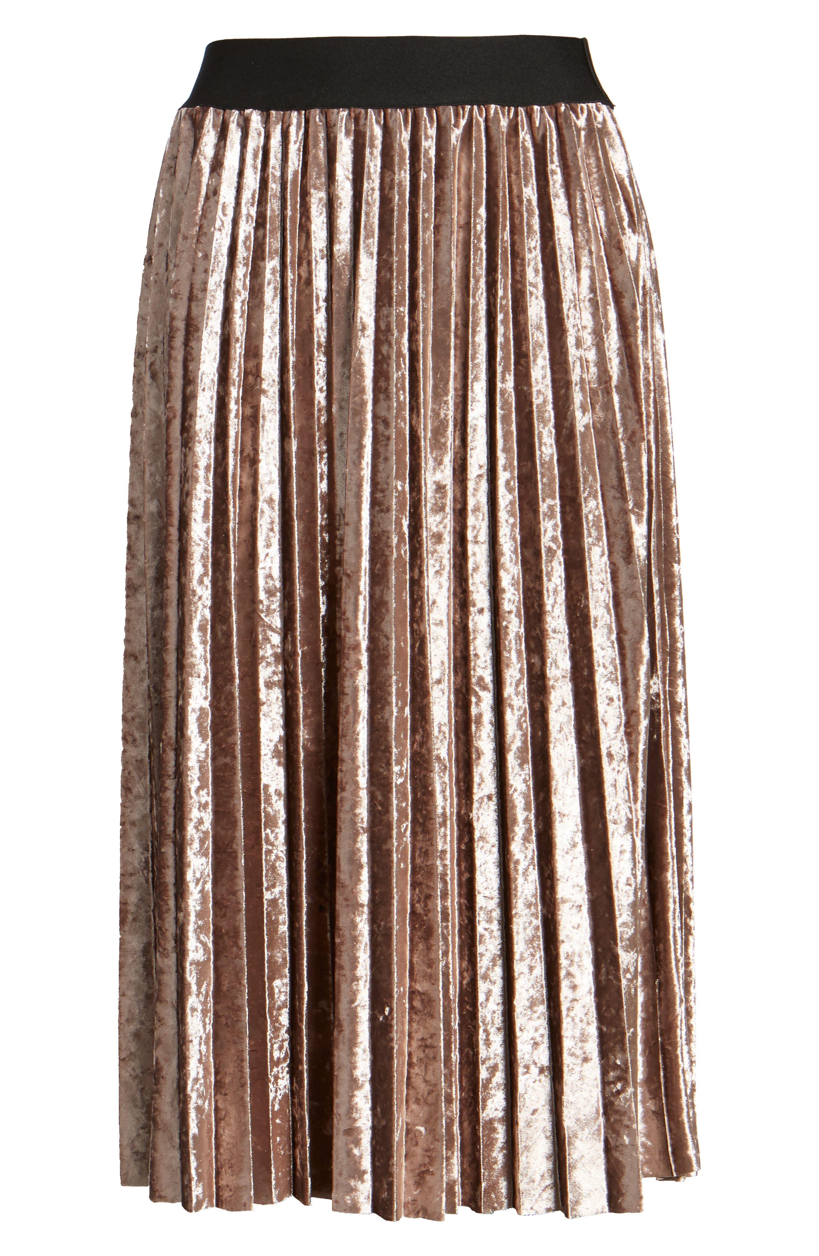 Pleated Velvet Skirt,                             Alternate thumbnail 6, color,