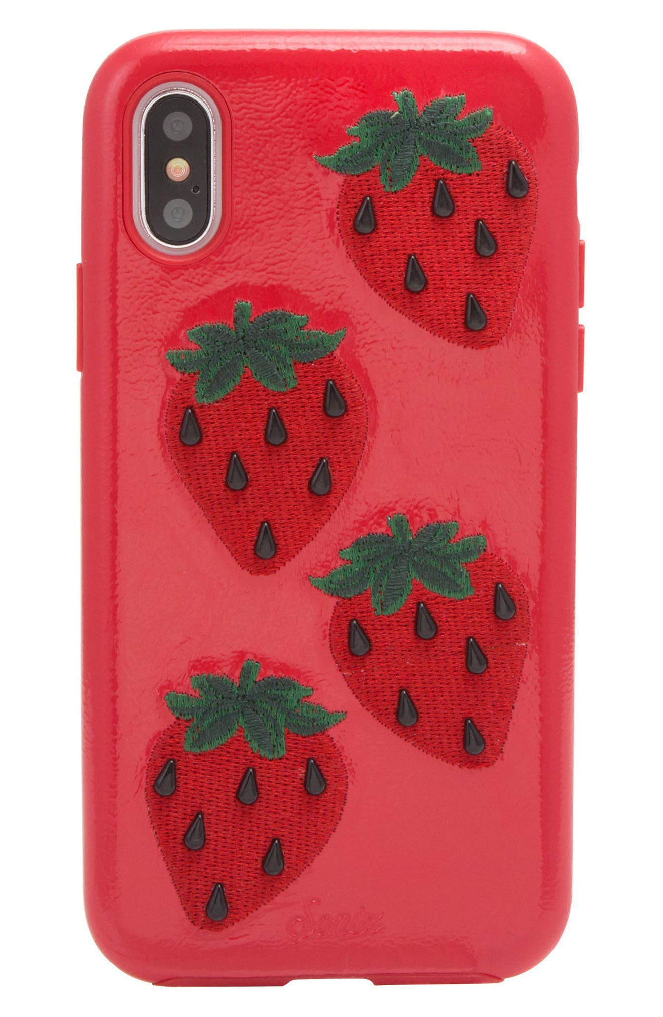 Strawberry Faux Leather iPhone X Case,                             Main thumbnail 1, color,