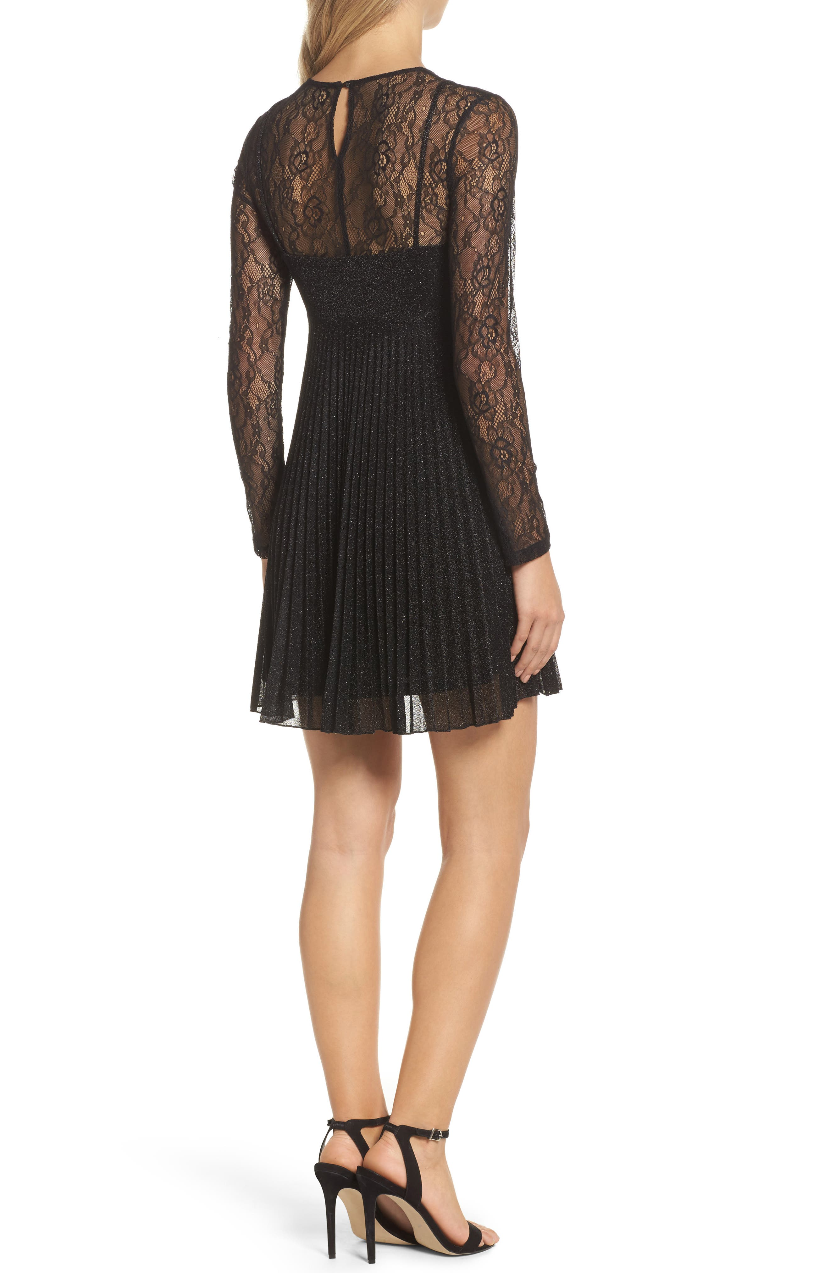 Chantilly Lace Pleated Dress,                             Alternate thumbnail 2, color,
