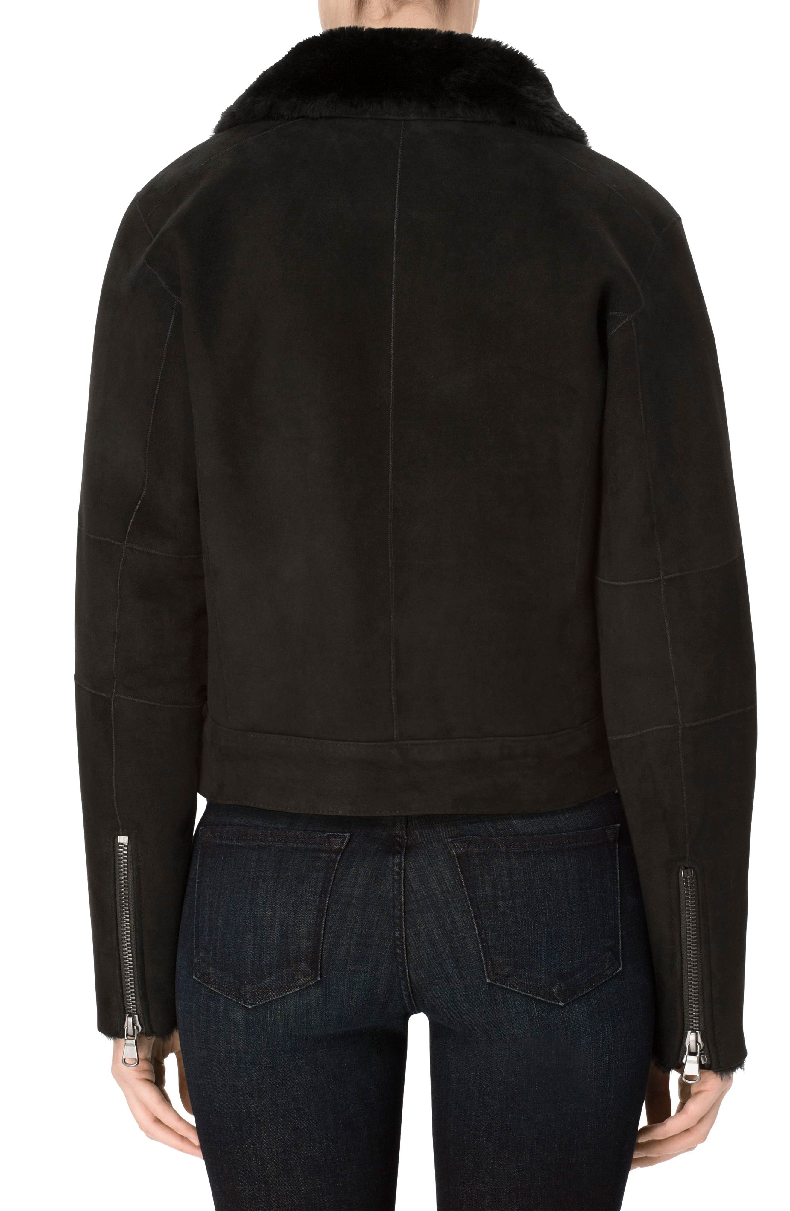 Camilla Suede Moto Jacket with Genuine Shearling,                             Alternate thumbnail 3, color,                             001