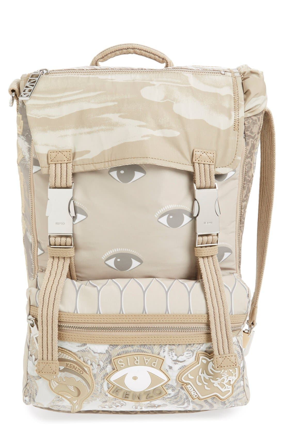 'Multi Icons' Printed Nylon Backpack, Main, color, 250