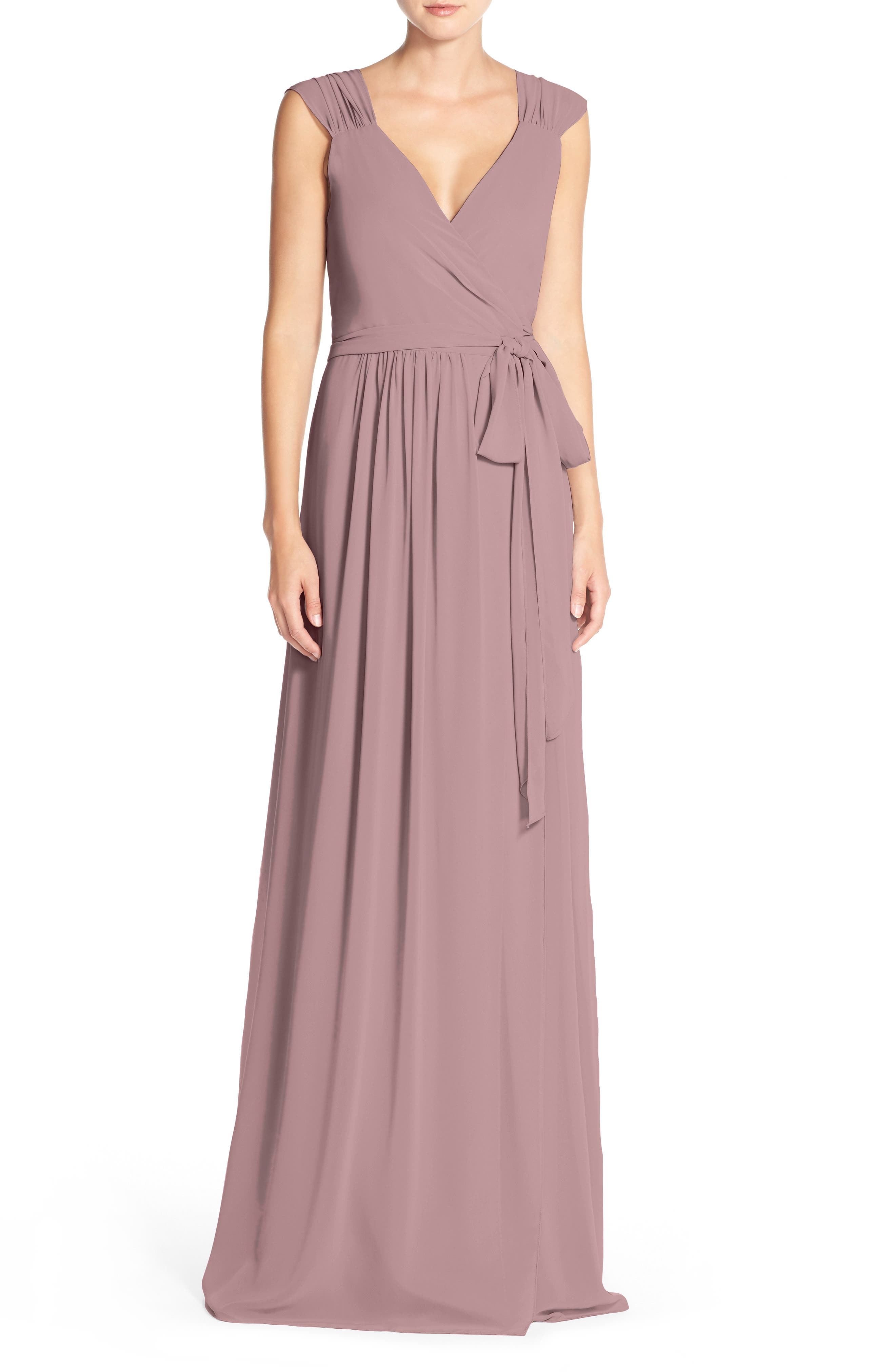 Newbury Gathered Sleeve Chiffon Wrap Gown,                             Alternate thumbnail 22, color,