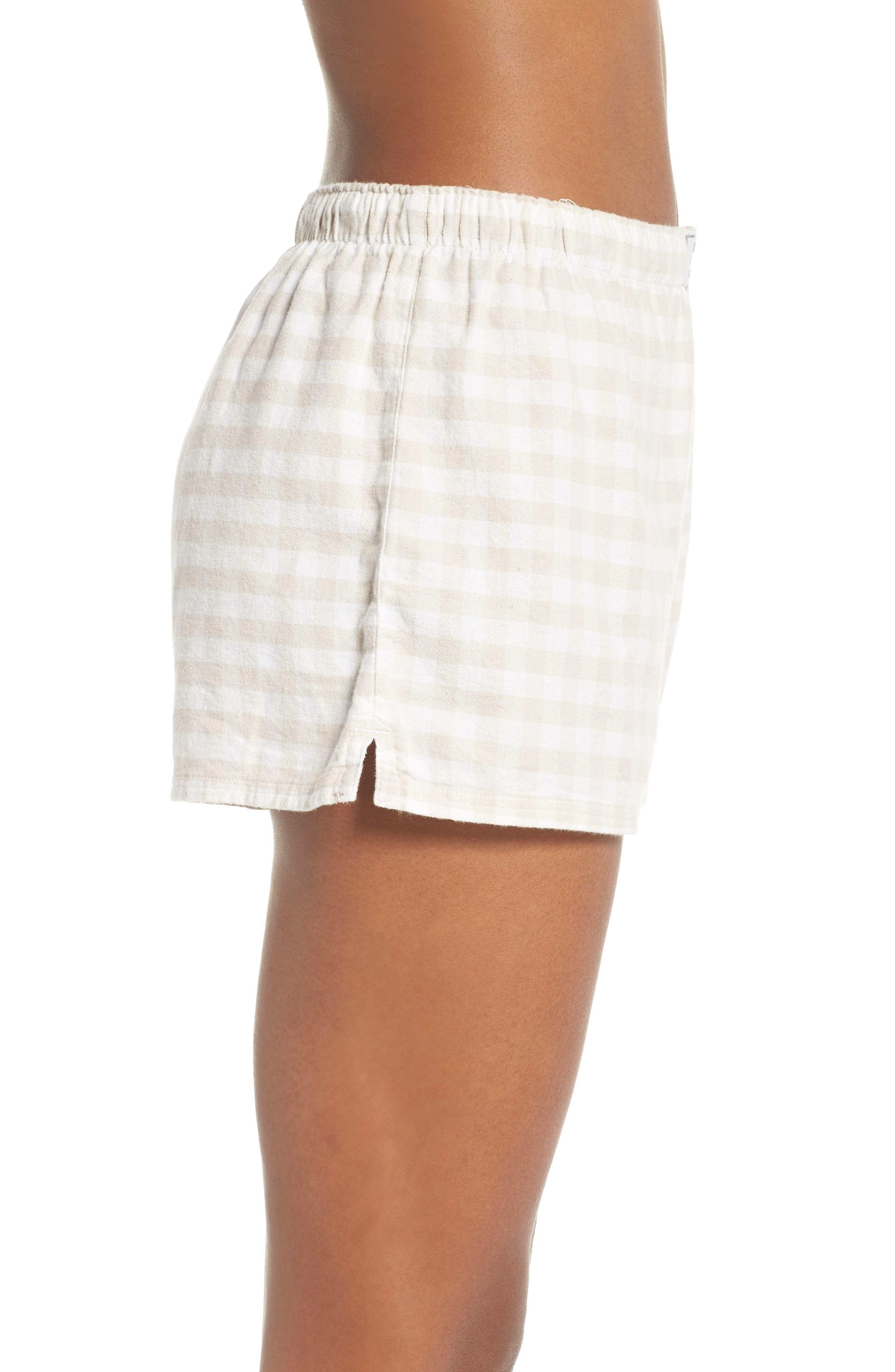 Gingham Pajama Shorts,                             Alternate thumbnail 3, color,                             CHAMPAGNE
