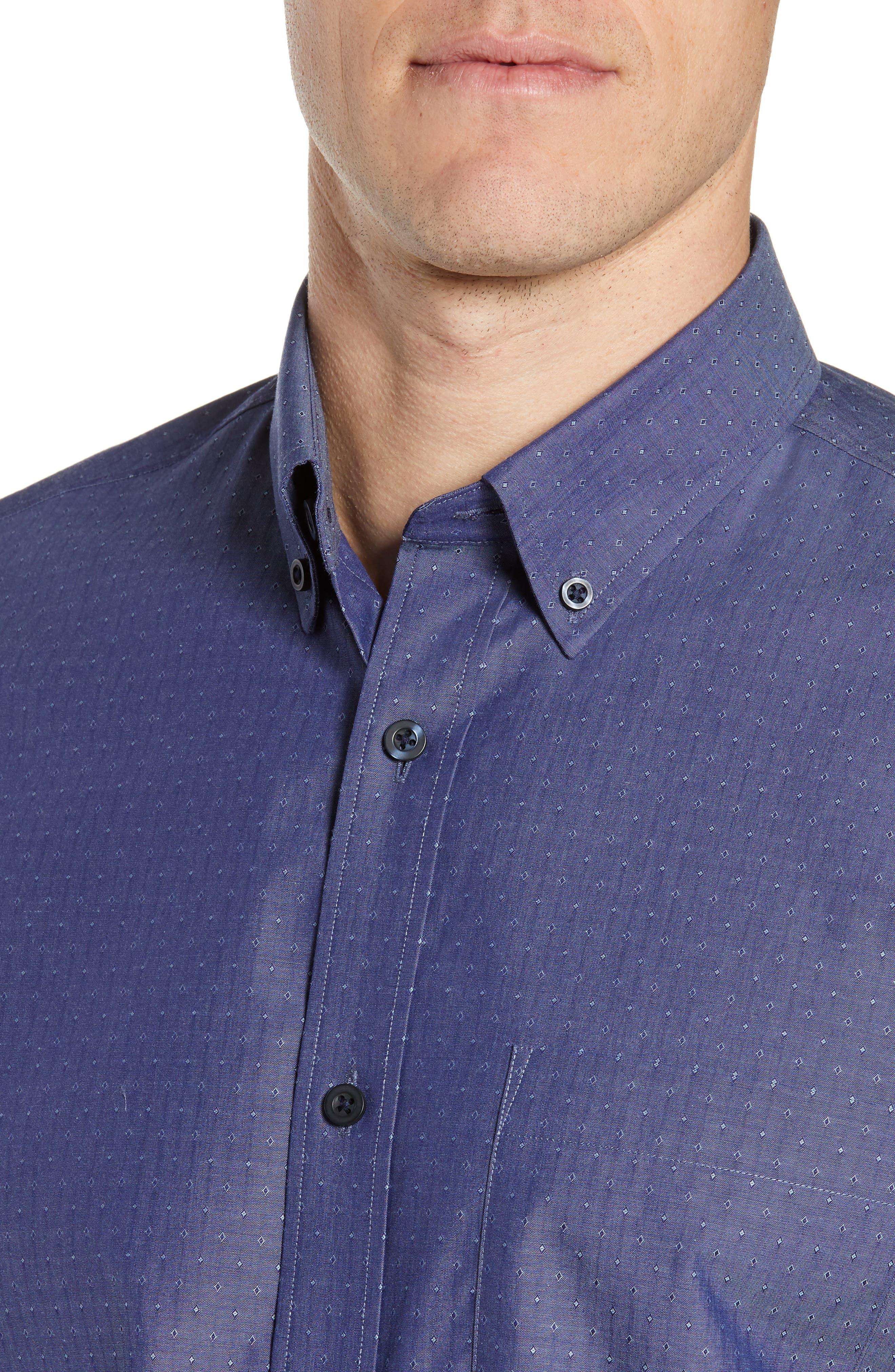 NORDSTROM MEN'S SHOP,                             Regular Fit Non-Iron Dobby Sport Shirt,                             Alternate thumbnail 4, color,                             NAVY PEACOAT DIAMOND DOBBY