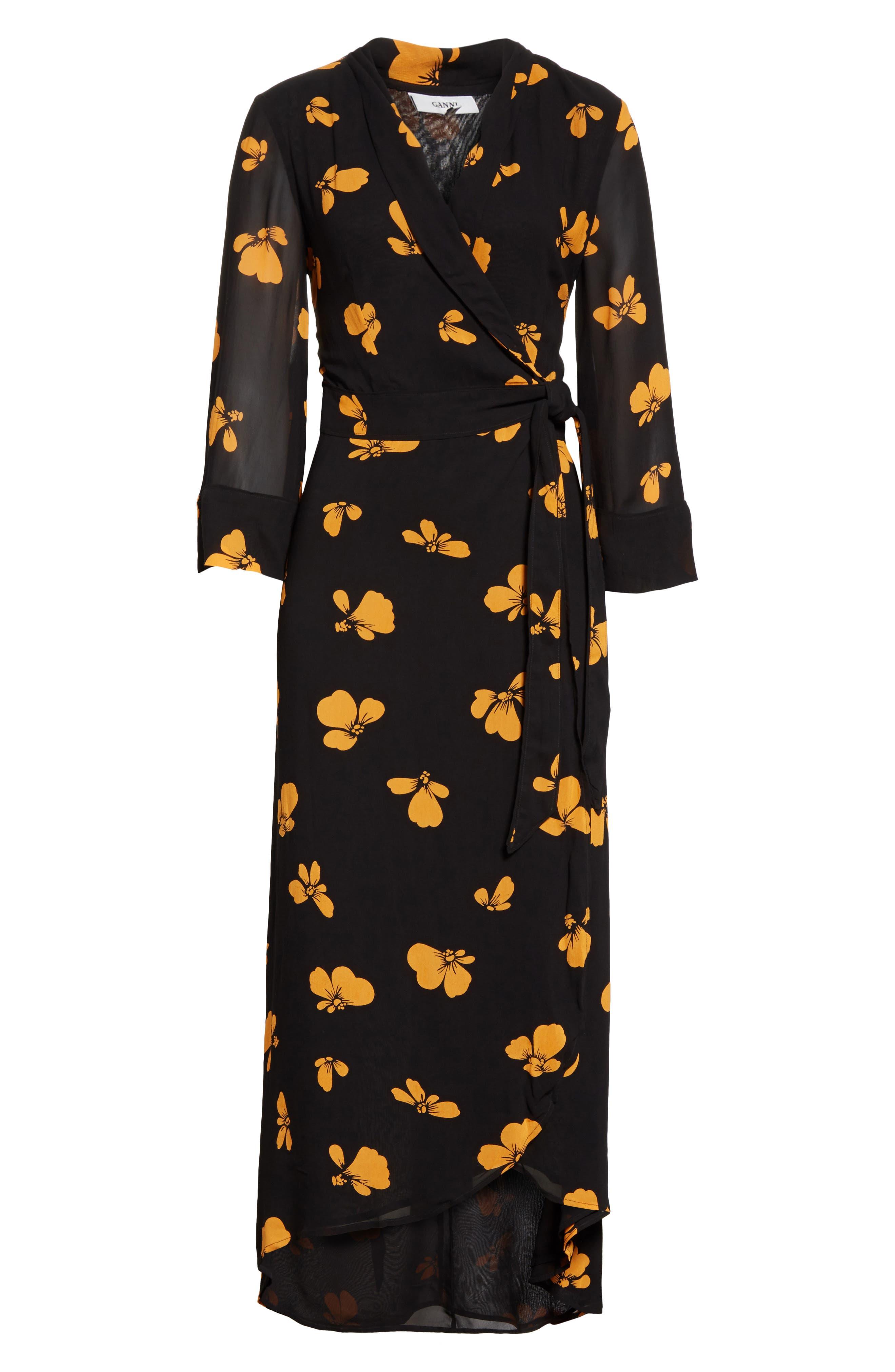 Fairfax Georgette Wrap Dress,                             Alternate thumbnail 6, color,                             001