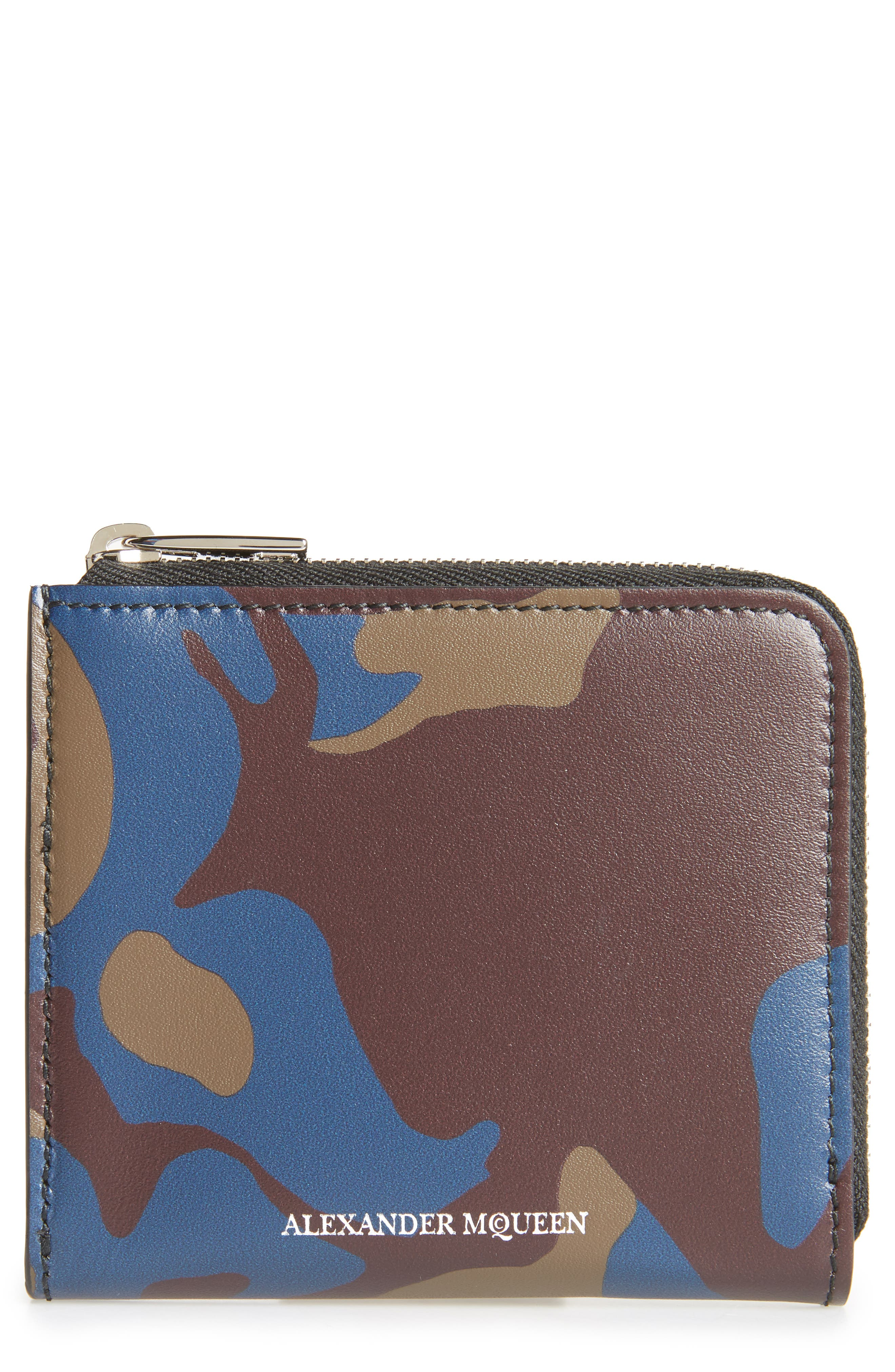 Leather Zip Coin Purse,                         Main,                         color, MILITARY