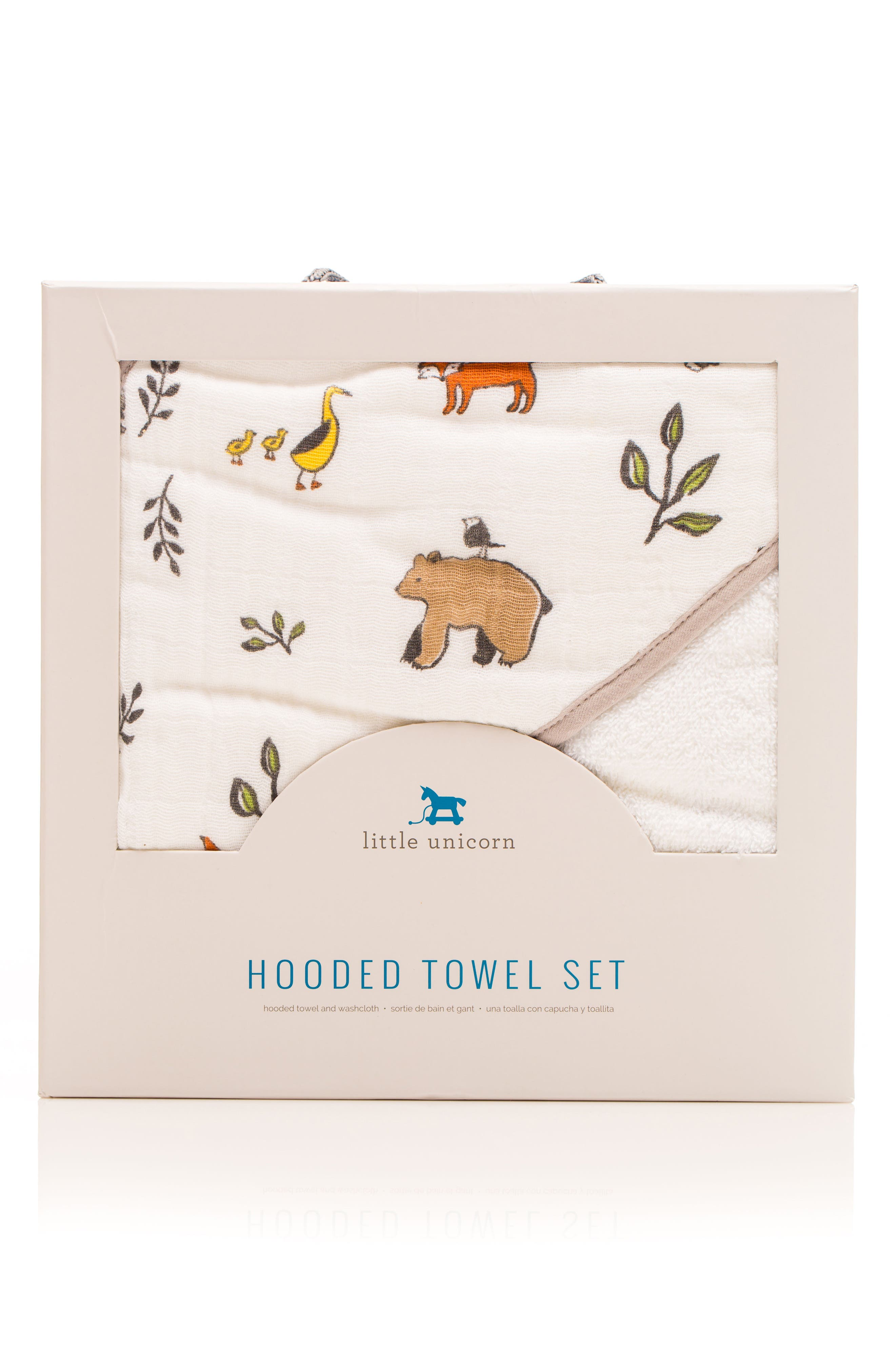 Infant Little Unicorn Hooded Towel And Washcloth Set Size One Size  Brown