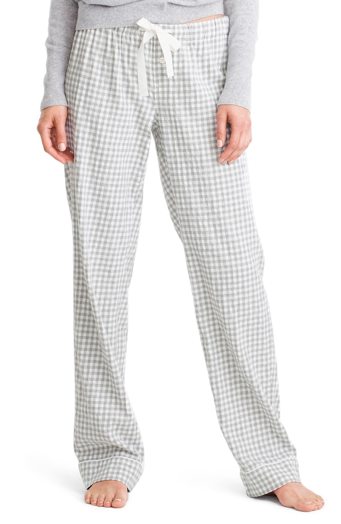 Grey Gingham Pajama Pants,                         Main,                         color,