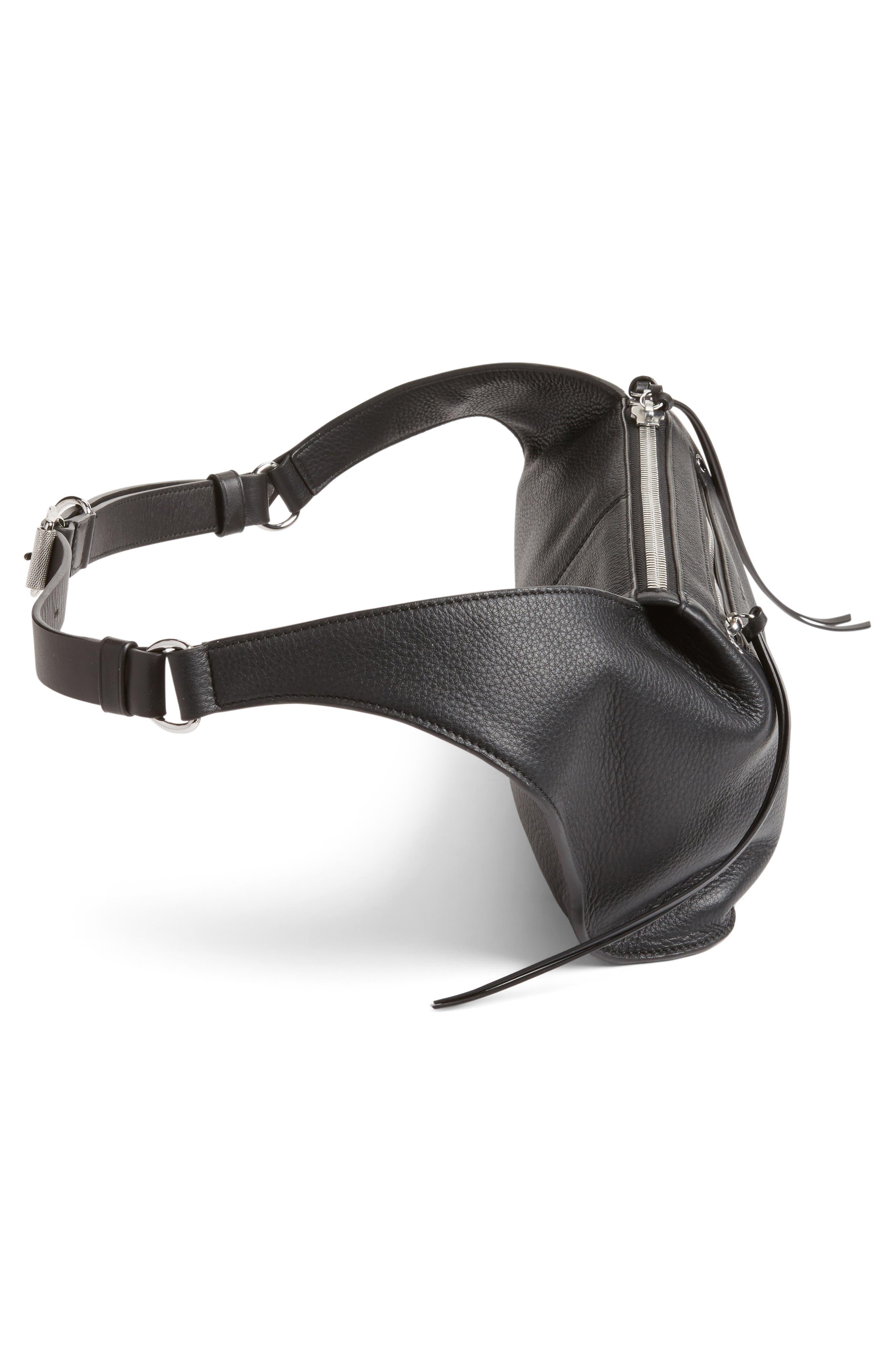 Leather Belt Bag,                             Alternate thumbnail 5, color,                             BLACK