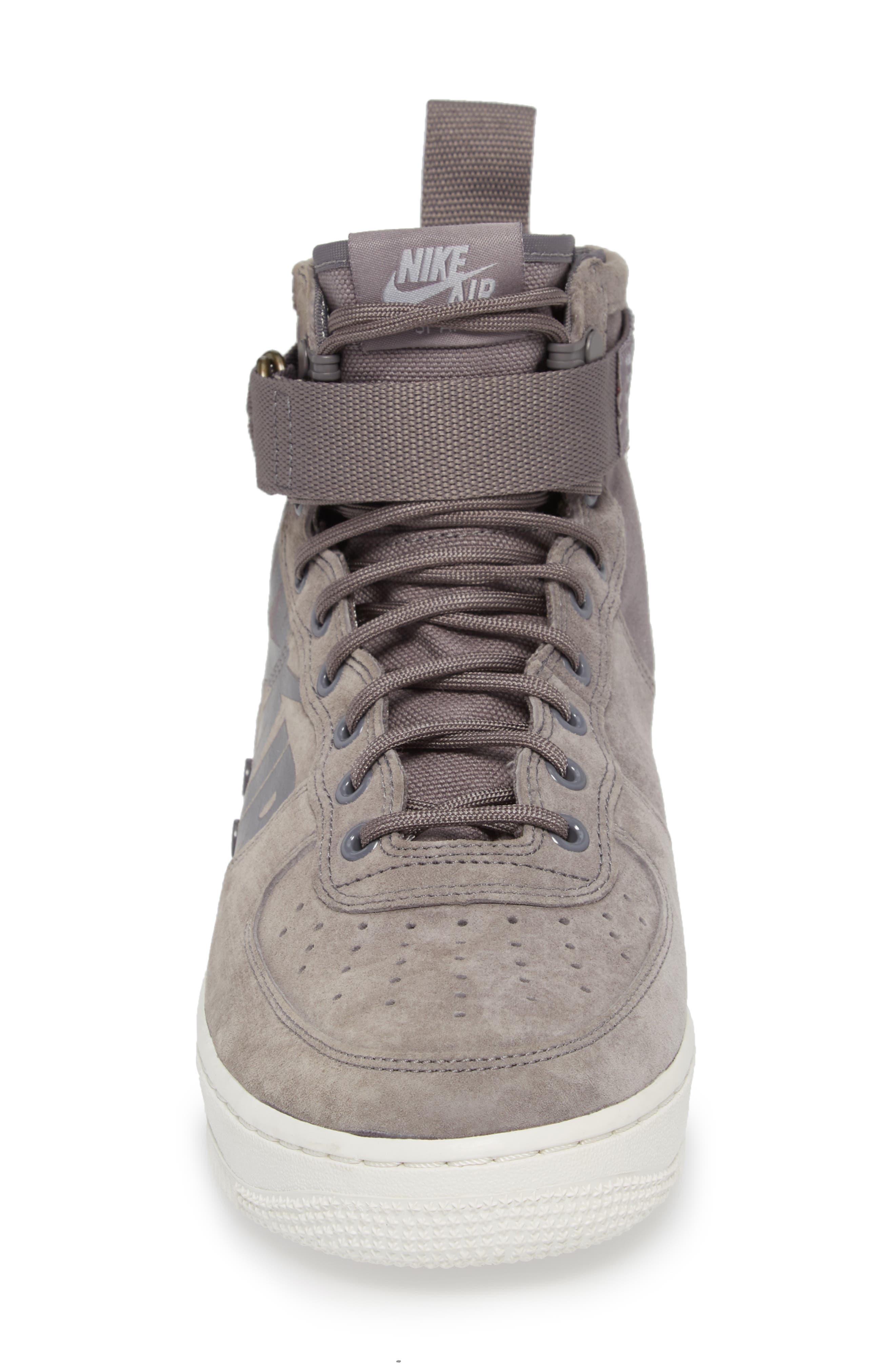 SF Air Force 1 Mid Sneaker,                             Alternate thumbnail 4, color,                             GUNSMOKE/ WOLF GREY/ WHITE