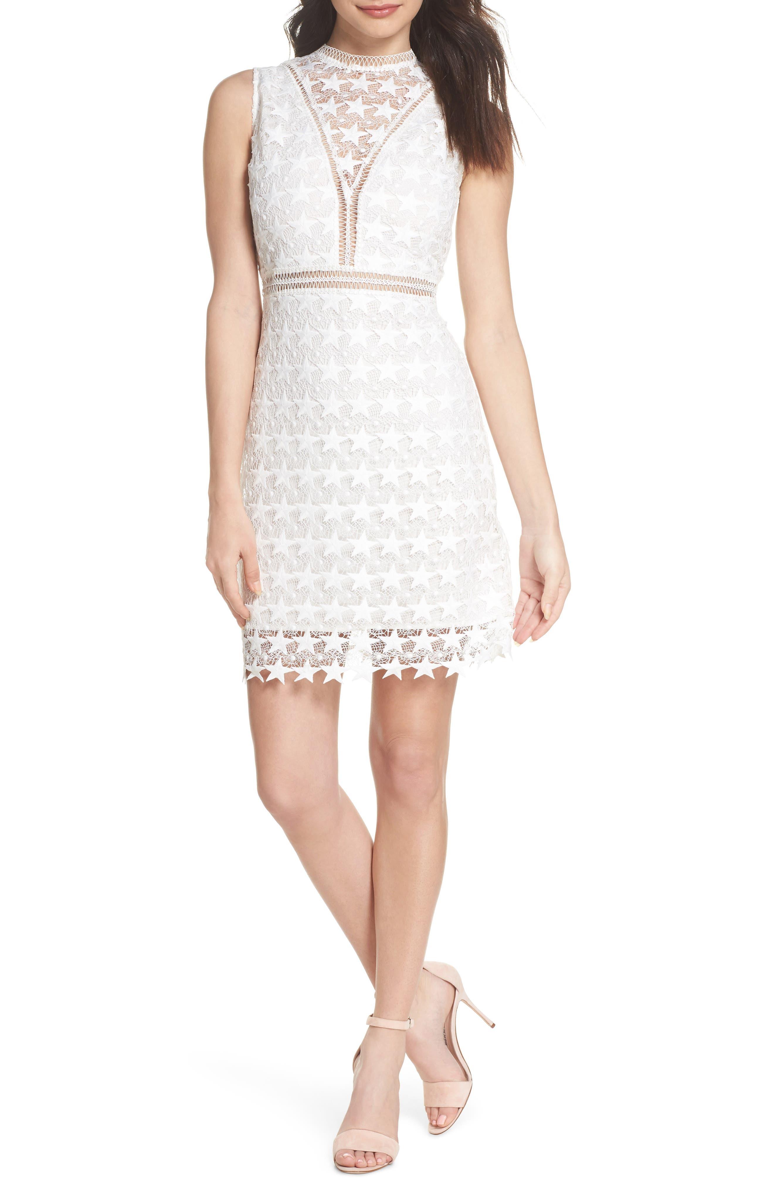 Star Lace Sheath Dress,                         Main,                         color, IVORY