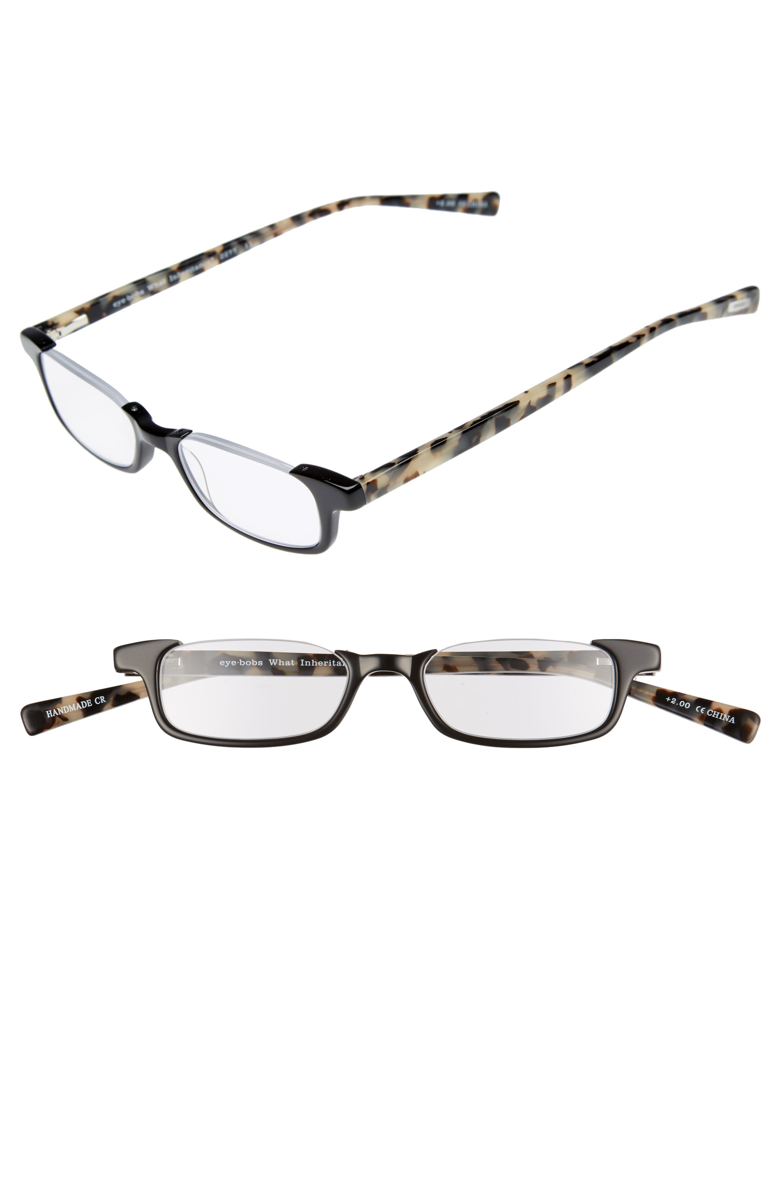 What Inheritance 46mm Reading Glasses,                         Main,                         color, BLACK WITH TORTOISE