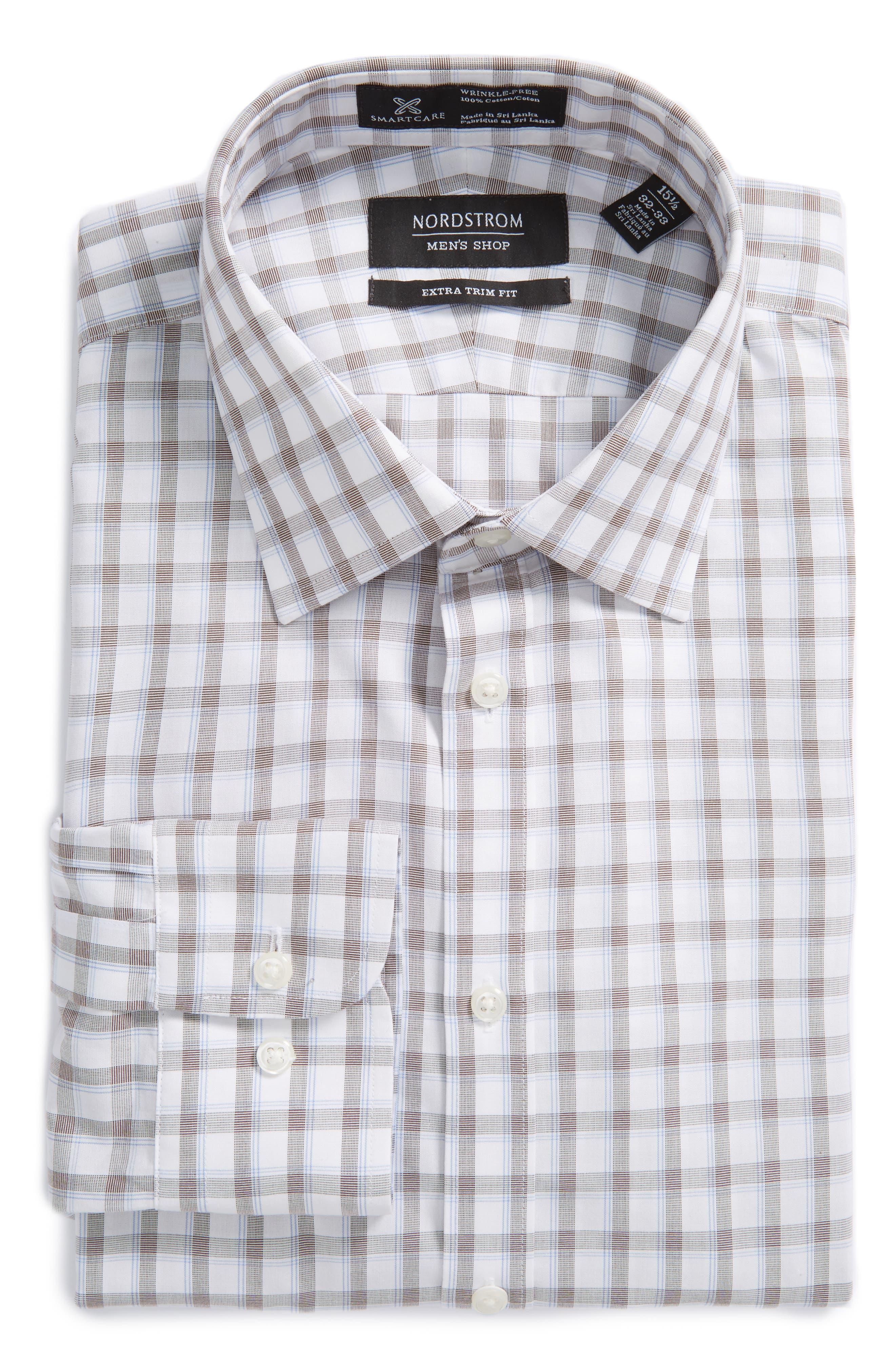 Smartcare<sup>™</sup> Extra Trim Fit Plaid Dress Shirt,                             Alternate thumbnail 3, color,                             210