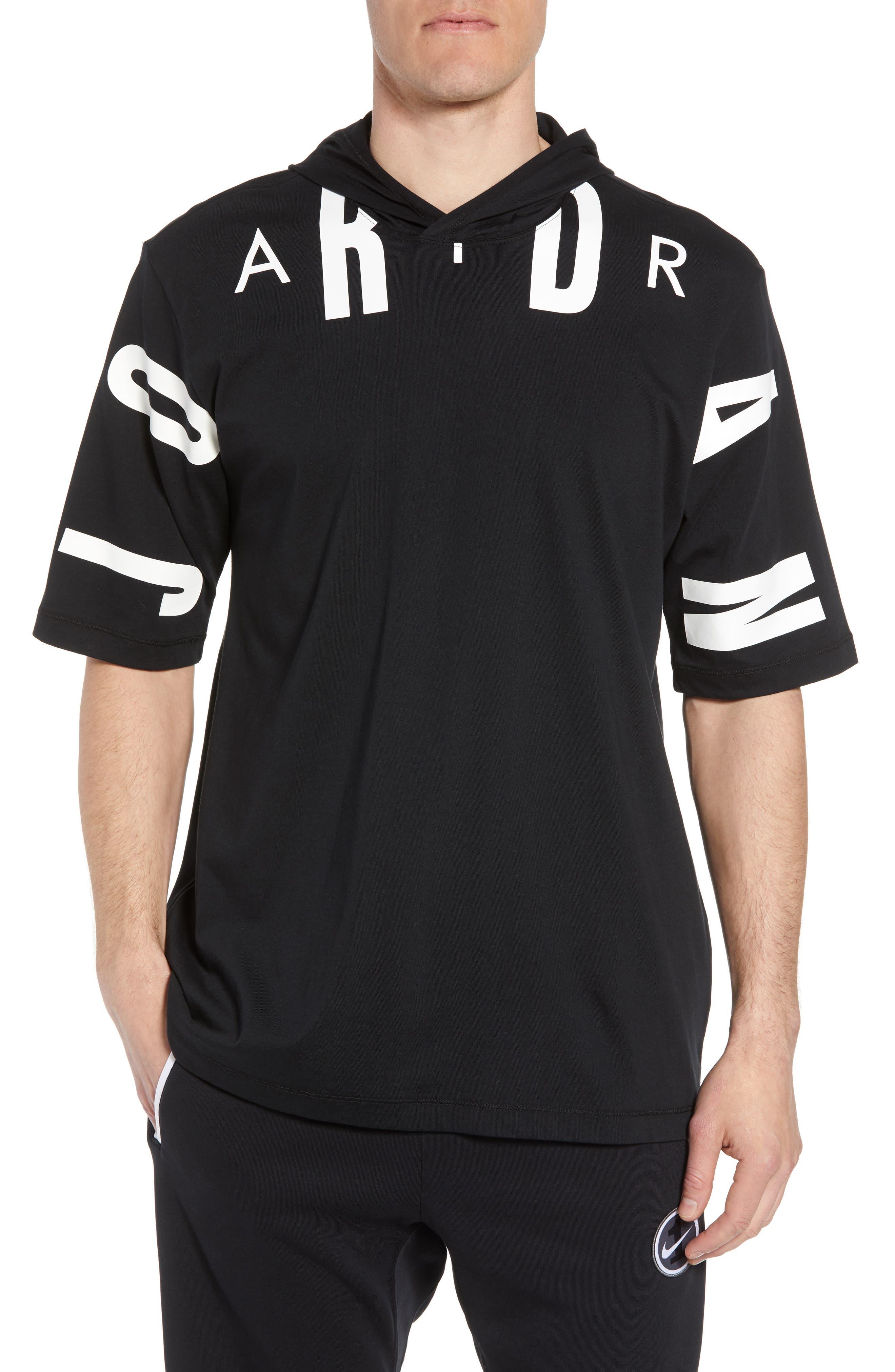 Jordan 23 Hooded T-Shirt,                         Main,                         color, BLACK/ WHITE